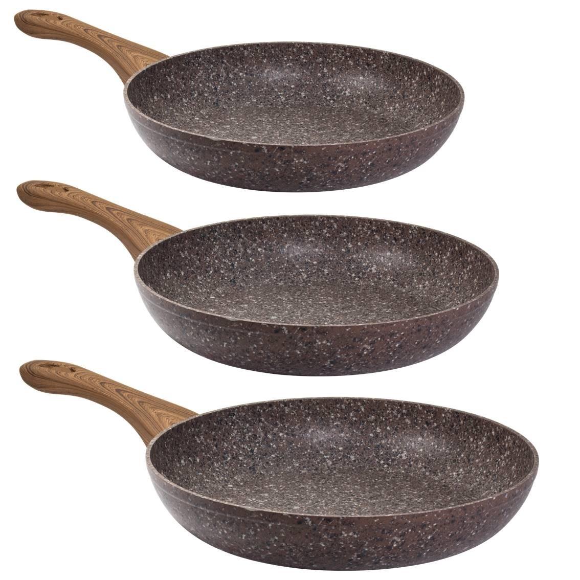 STEINFURT 3 - tlg Pfannenset, Granit - Braun
