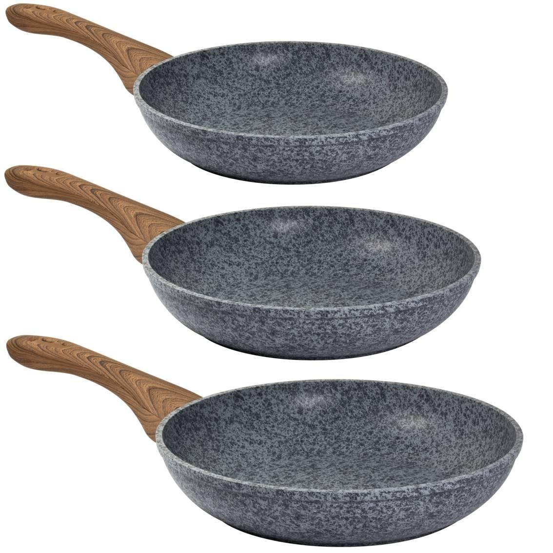 STEINFURT 3 - tlg Pfannenset, Granit - Grau