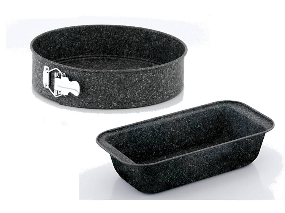 STEINFURT 3 tlg Backset: Brotbackform 30 x 13 cm und Springform Durchmesser 24 cm mit abnehmbaren Boden