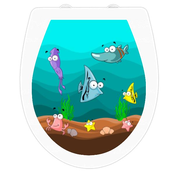 WC-Sitz Aufkleber Zeichentrick Unterwasserwelt