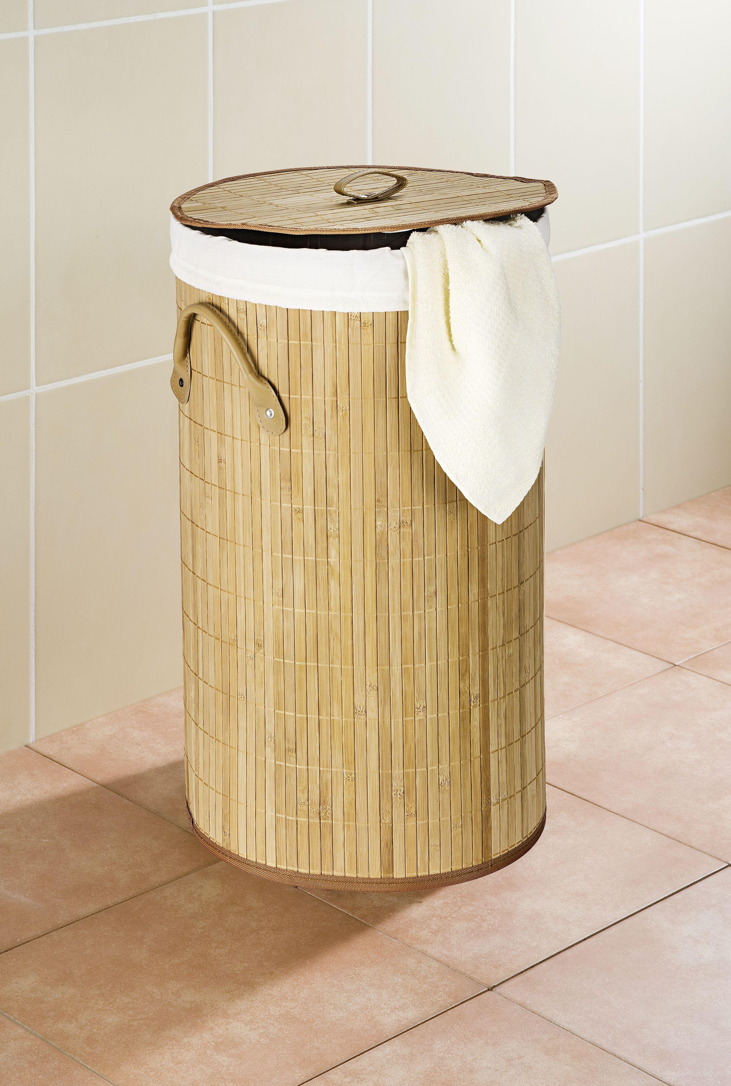 Wenko Wäschetruhe Bamboo Natur, Wäschekorb, 55 l