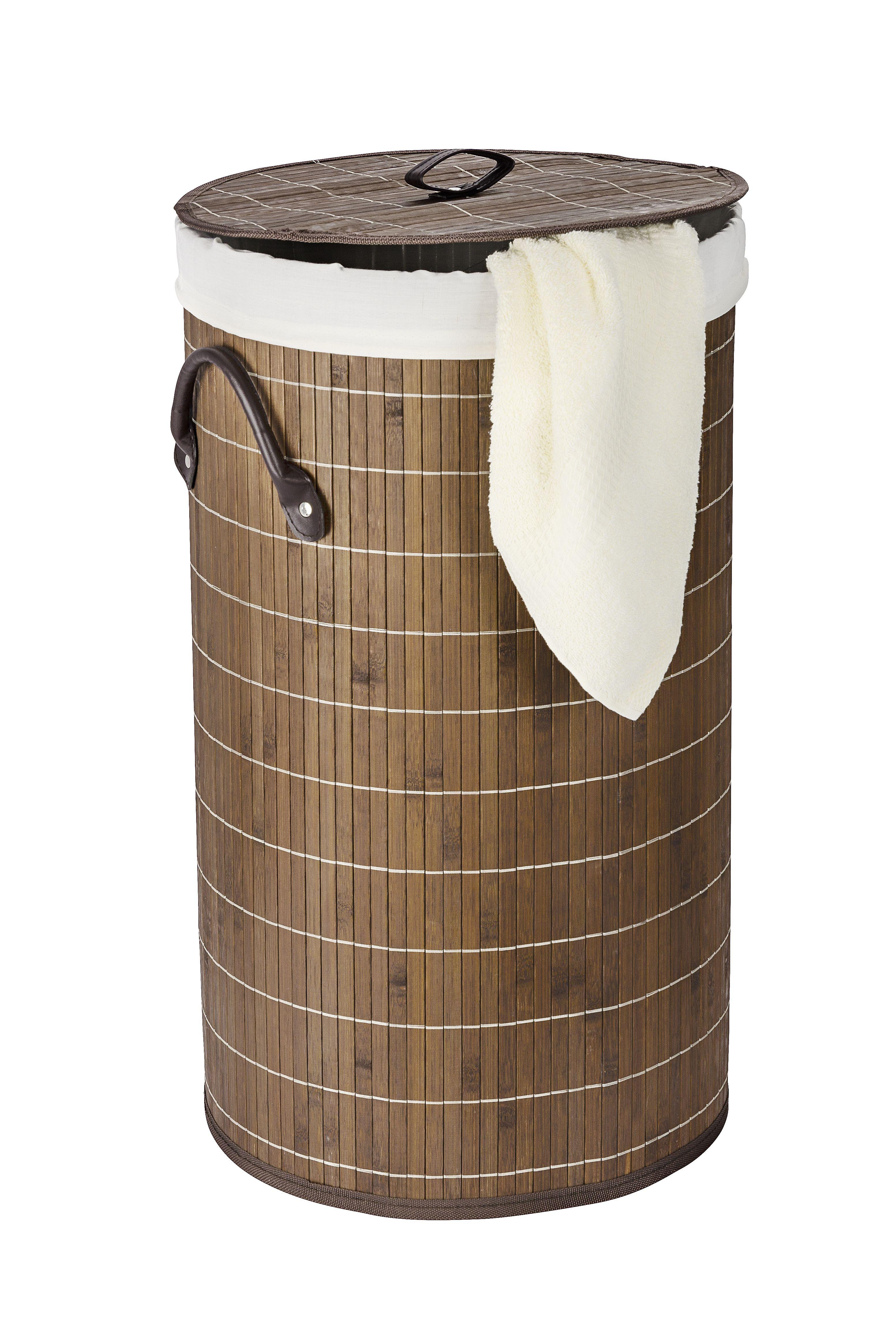 Wäschetruhe Bamboo Dunkelbraun, Wäschekorb, 55 l