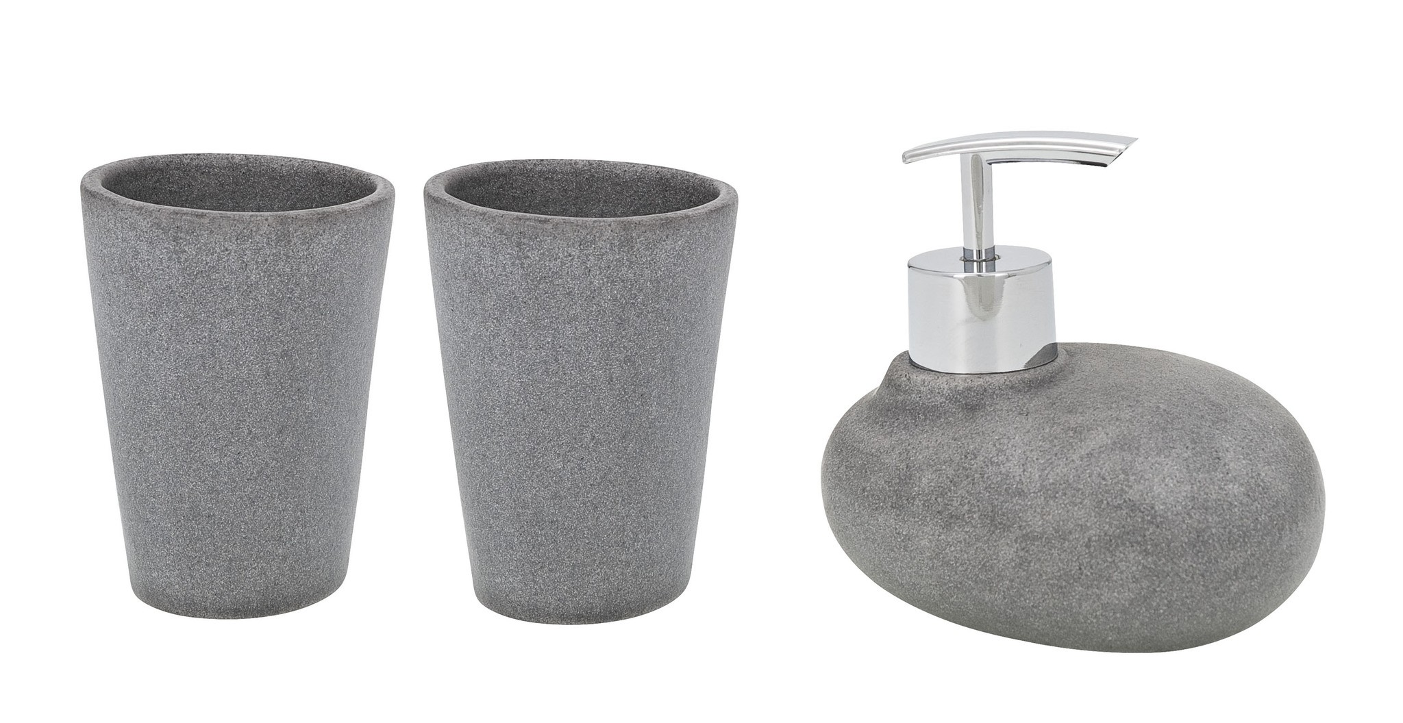 Wenko Bad-Accessoire-Set Pebble Stone Grey, 3-teilig