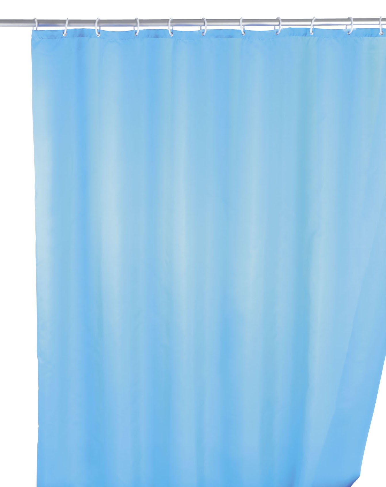 Wenko Anti-Schimmel Duschvorhang Uni Light Blue, 180 x 200 cm, waschbar