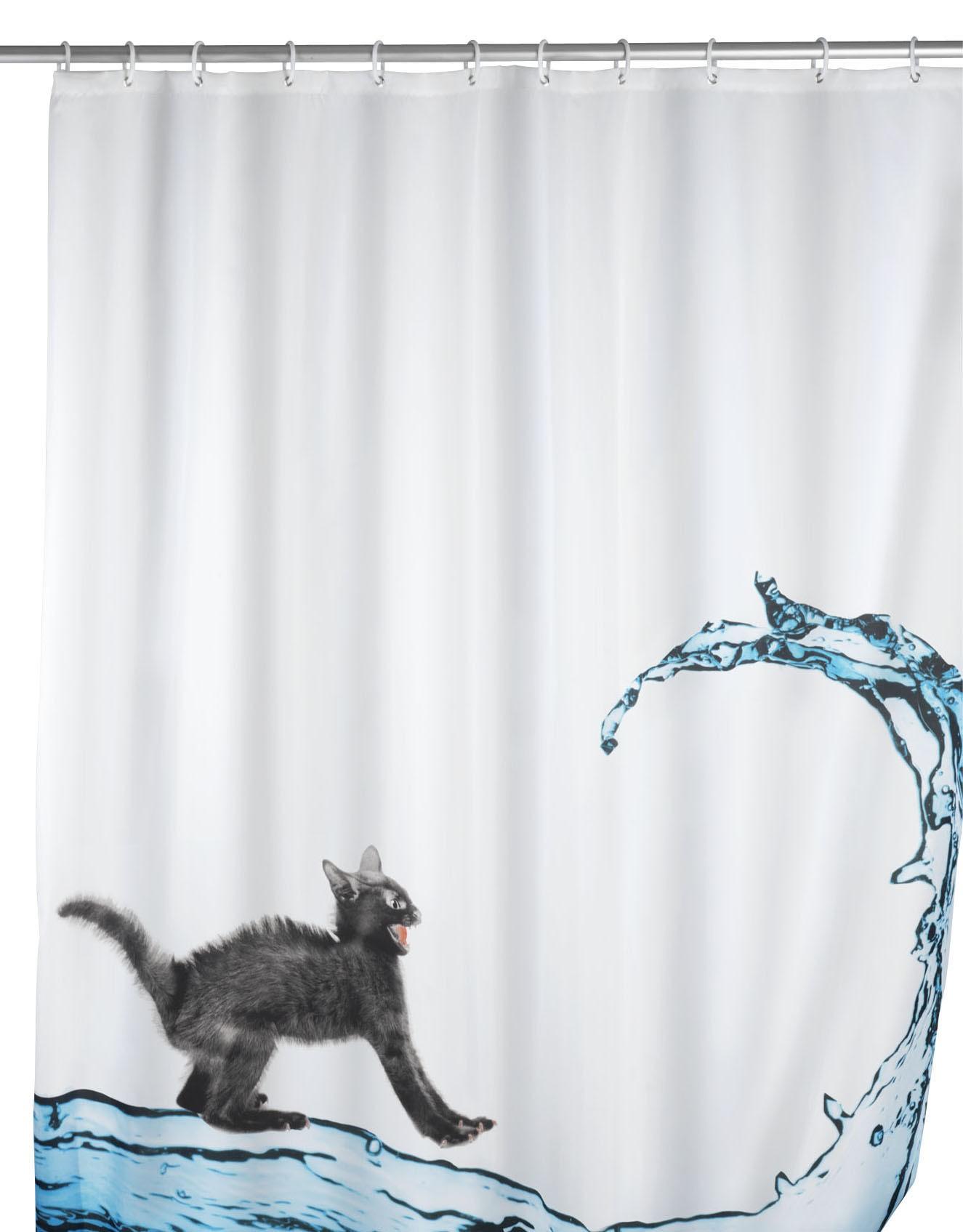 Anti-Schimmel Duschvorhang Cat, Polyester, 180 x 200 cm, waschbar
