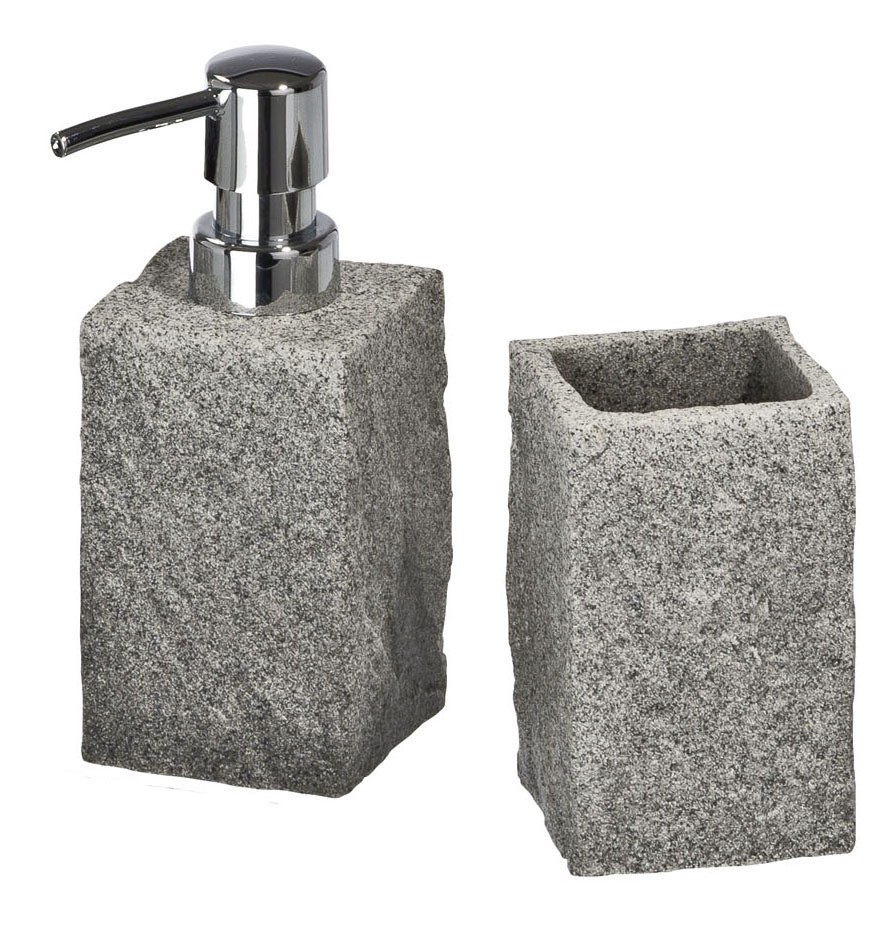 Bad-Accessoire-Set Granit, 2-teilig