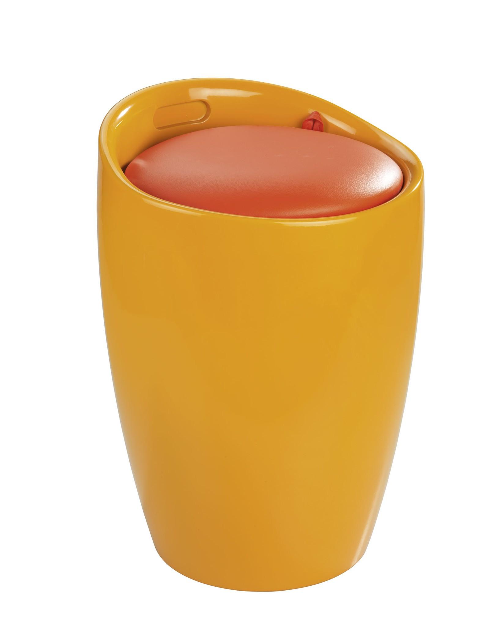 Wenko Hocker Candy Orange, Badhocker, mit abnehmbarem Wäschesack