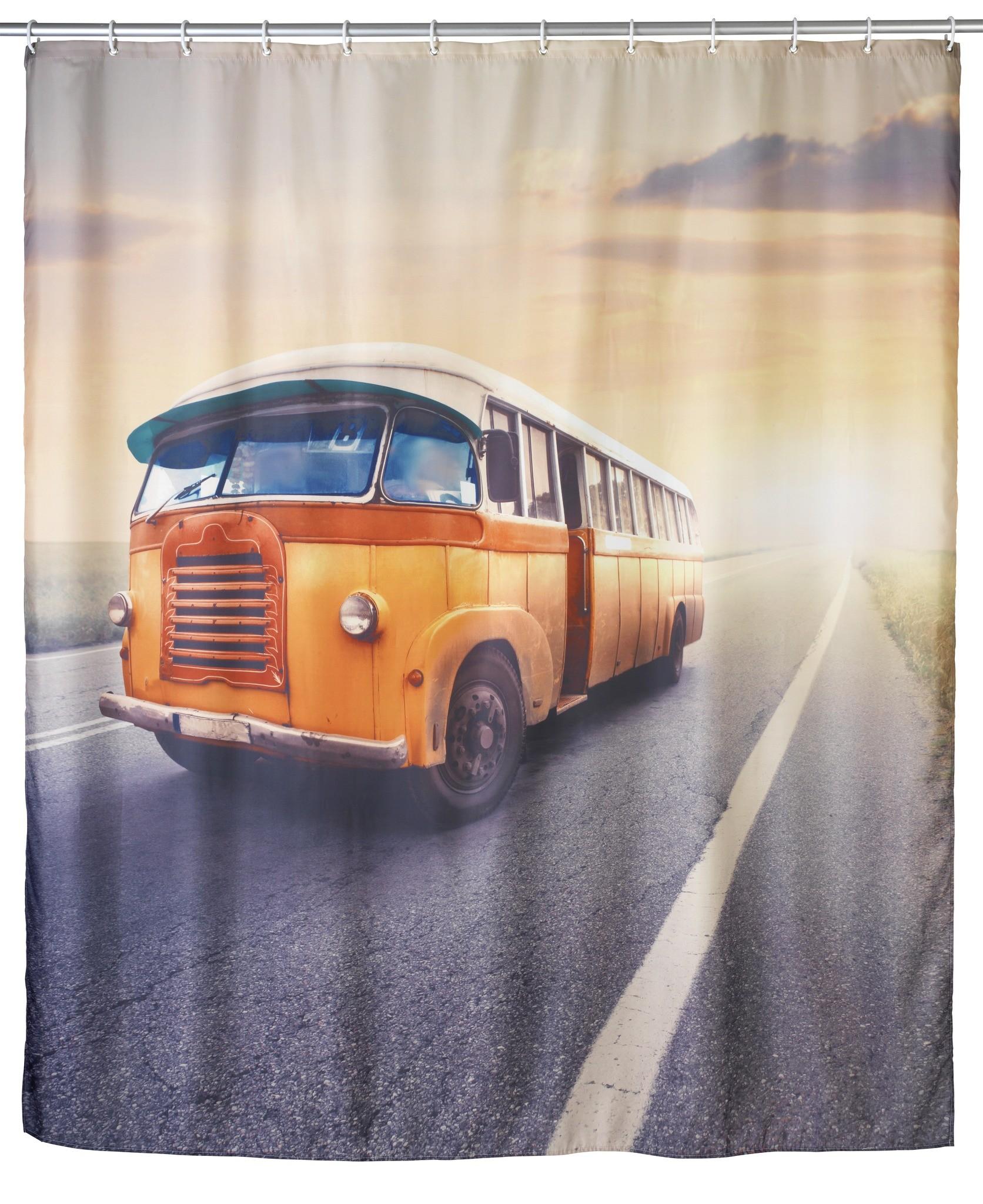 Anti-Schimmel Duschvorhang Vintage Bus, 180 x 200 cm, waschbar
