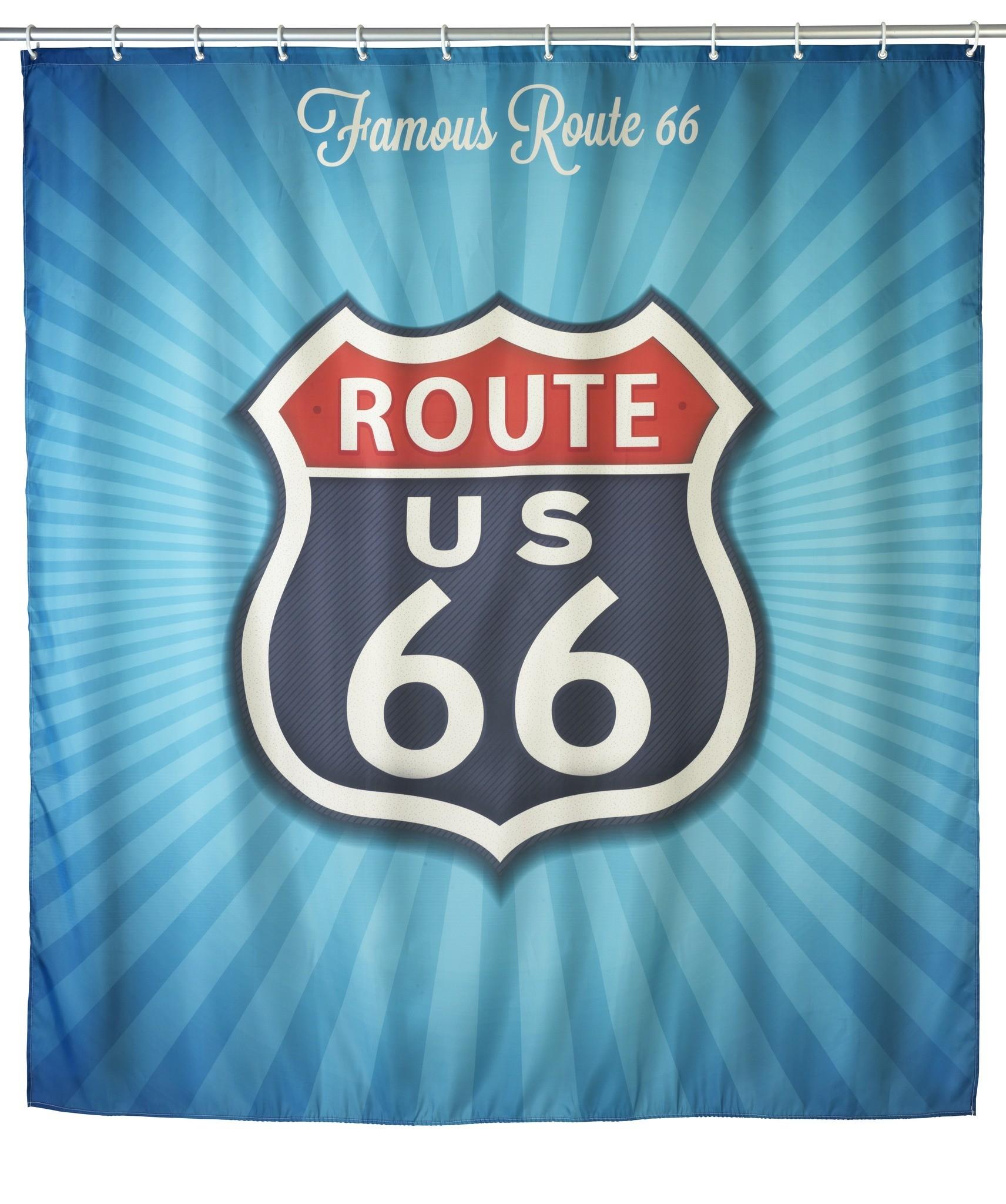 Anti-Schimmel Duschvorhang Vintage Route 66, 180 x 200 cm, waschbar