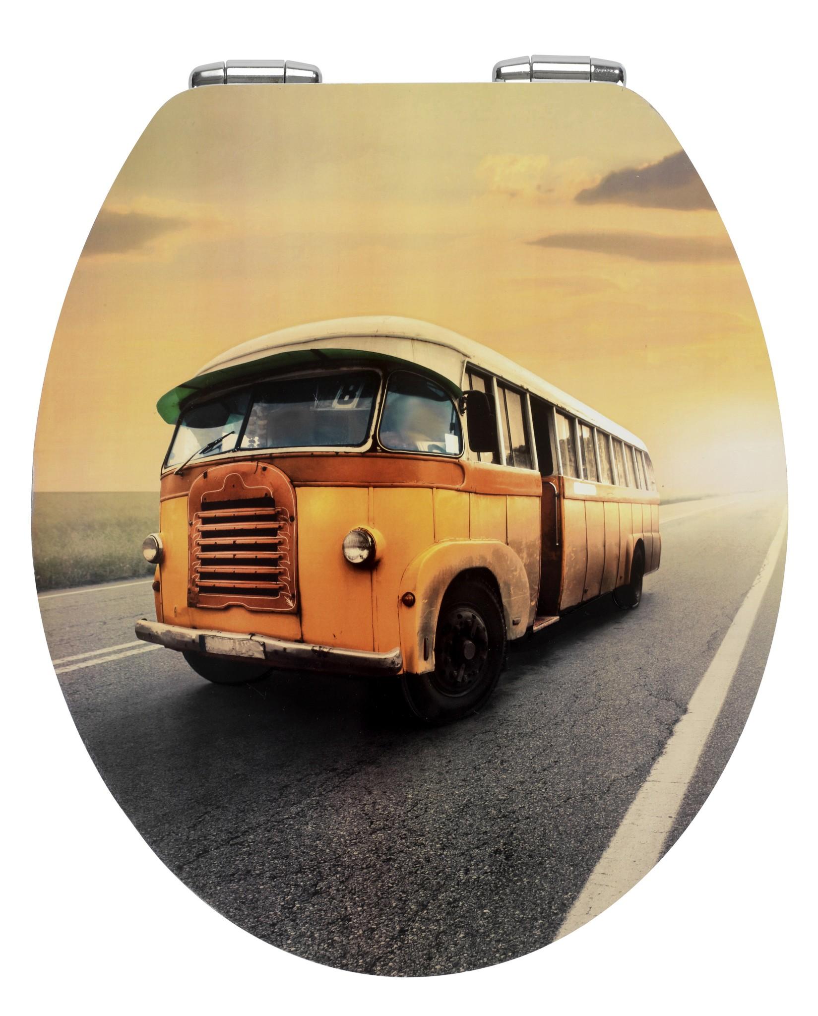 Wenko WC-Sitz Vintage Bus, Metal Plate Oberfläche, Absenkautomatik