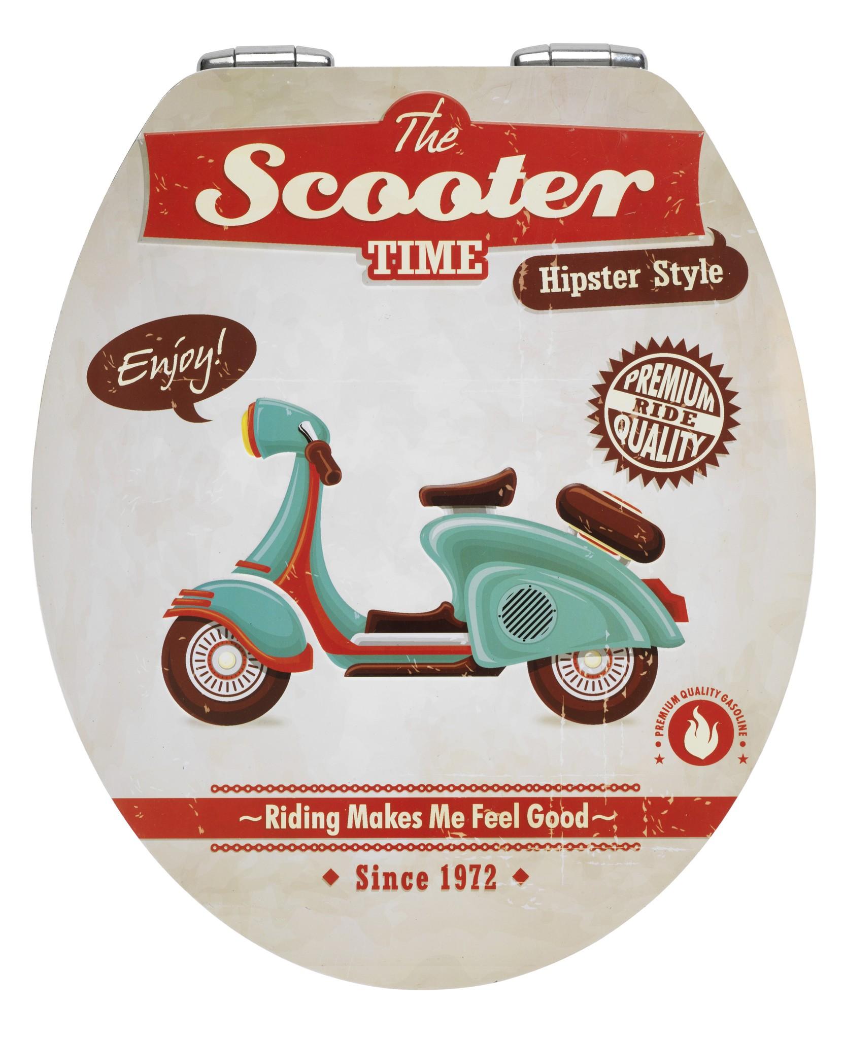 Wenko WC-Sitz Vintage Scooter, Metal Plate Oberfläche, Absenkautomatik