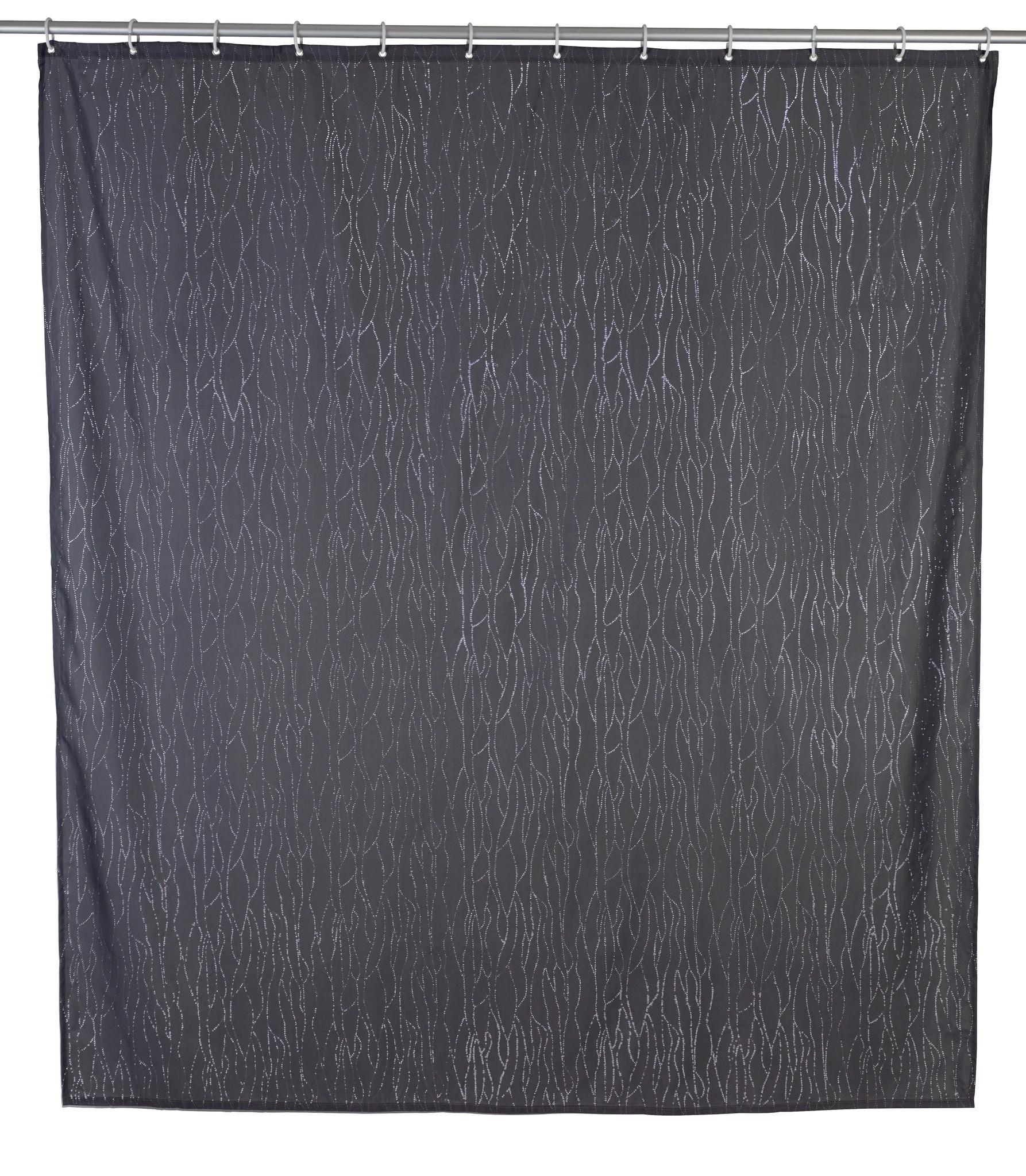 Duschvorhang Deluxe Grau, mit glänzenden Applikationen, 180 x 200 cm, waschbar