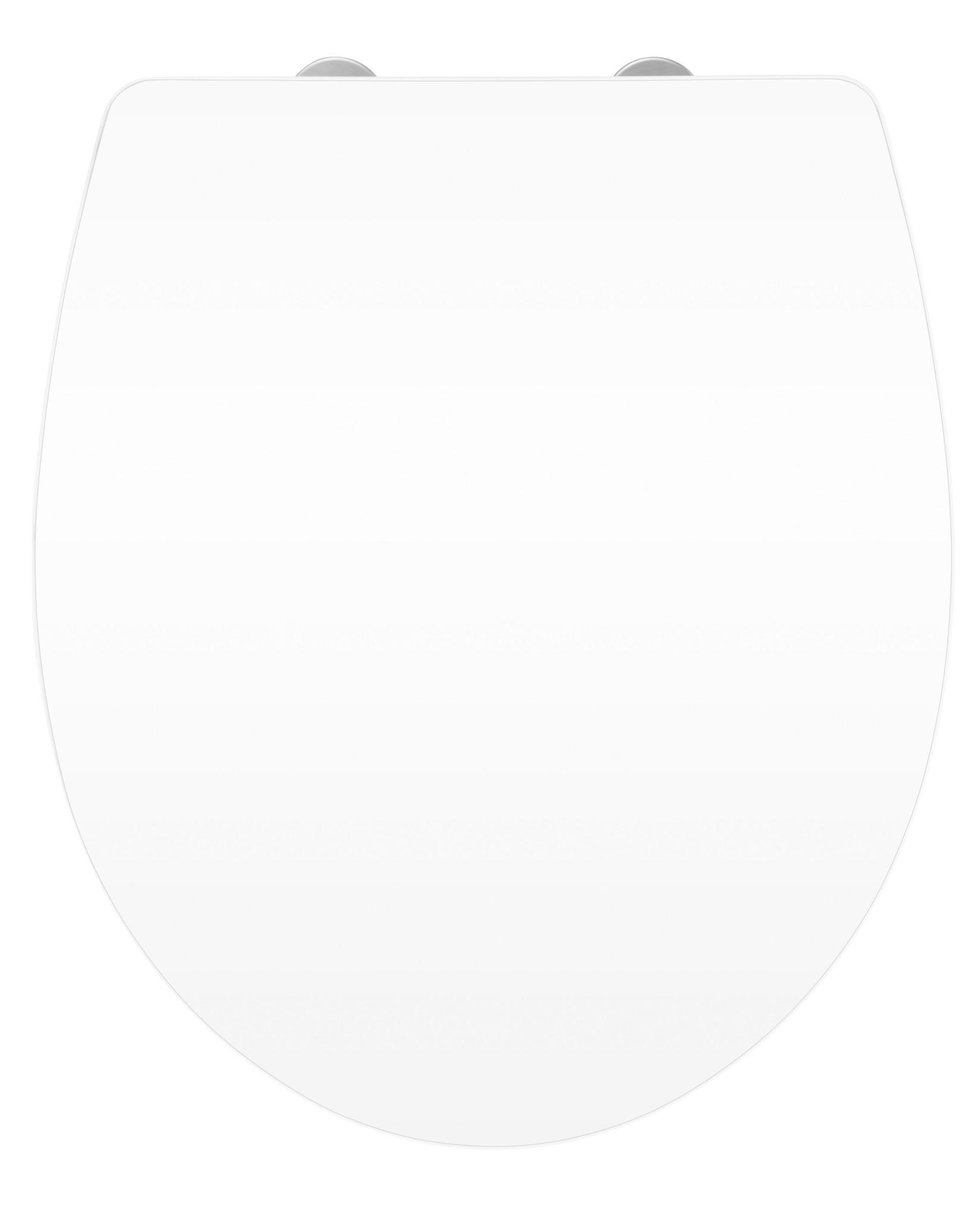 Wenko WC-Sitz Hochglanz Acryl White, Absenkautomatik, Fix-Clip Hygiene Befestigung