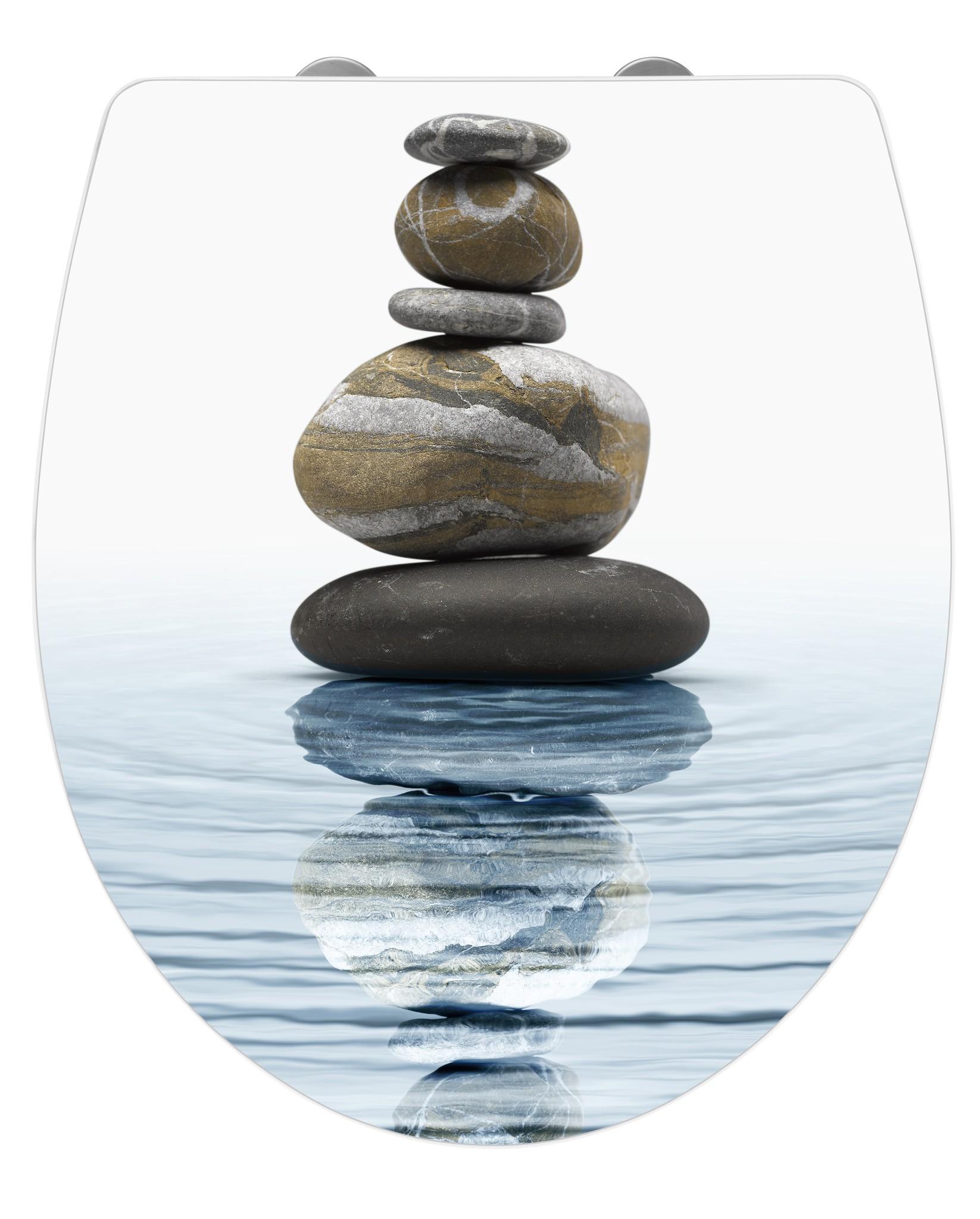 WC-Sitz Hochglanz Acryl Meditation, Absenkautomatik, Fix-Clip Hygiene Befestigung