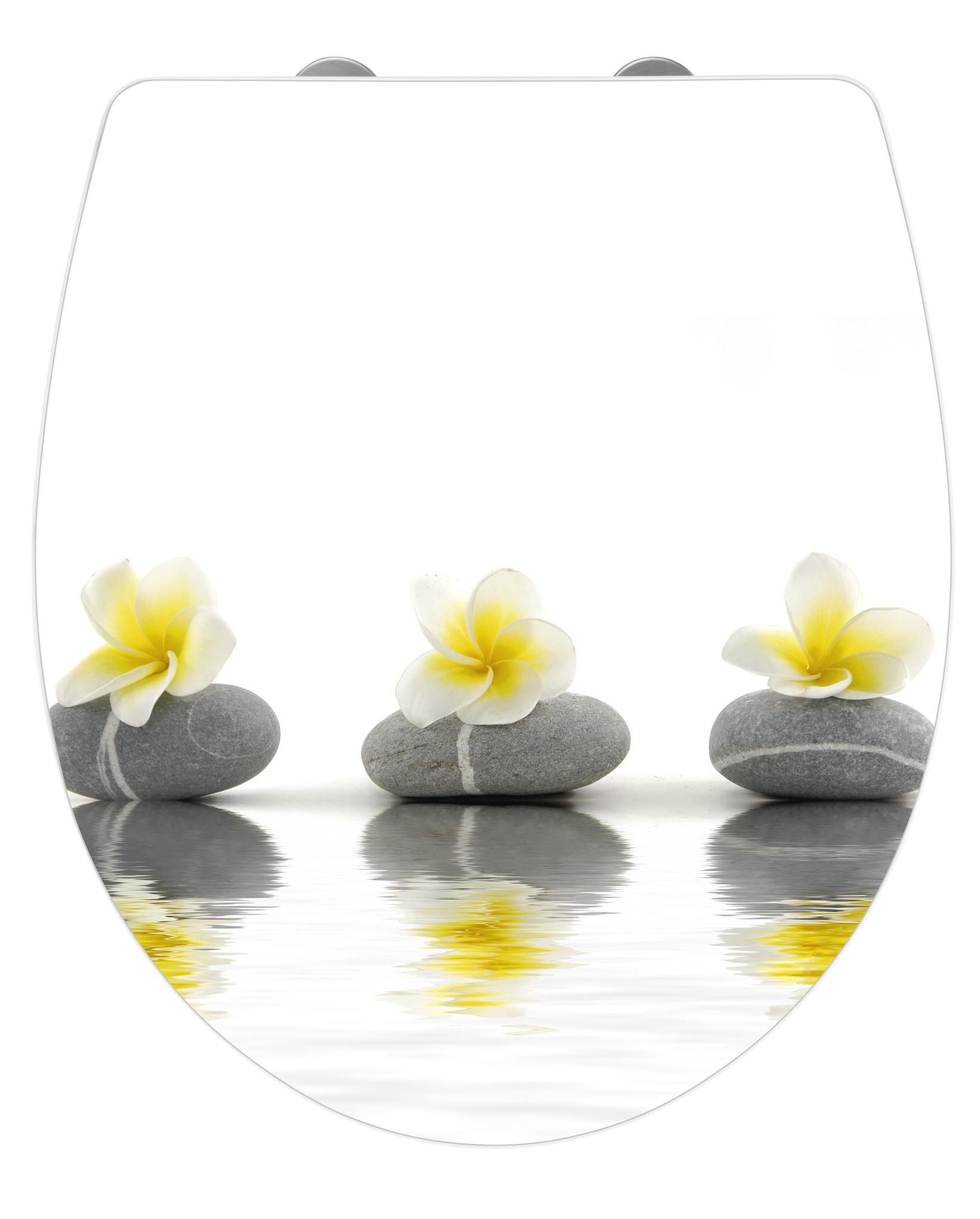 Wenko WC-Sitz Hochglanz Acryl Stones with Flower, Absenkautomatik, Fix-Clip Hygiene Befestigung