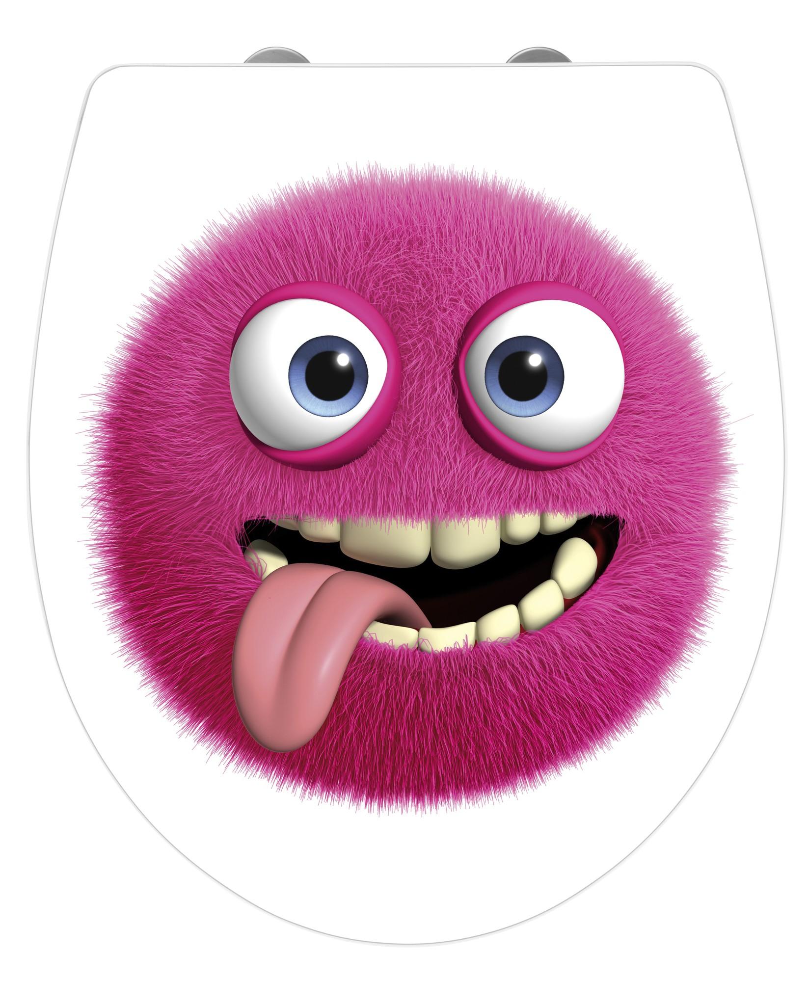 Wenko WC-Sitz Hochglanz Acryl Monster, Absenkautomatik, Fix-Clip Hygiene Befestigung