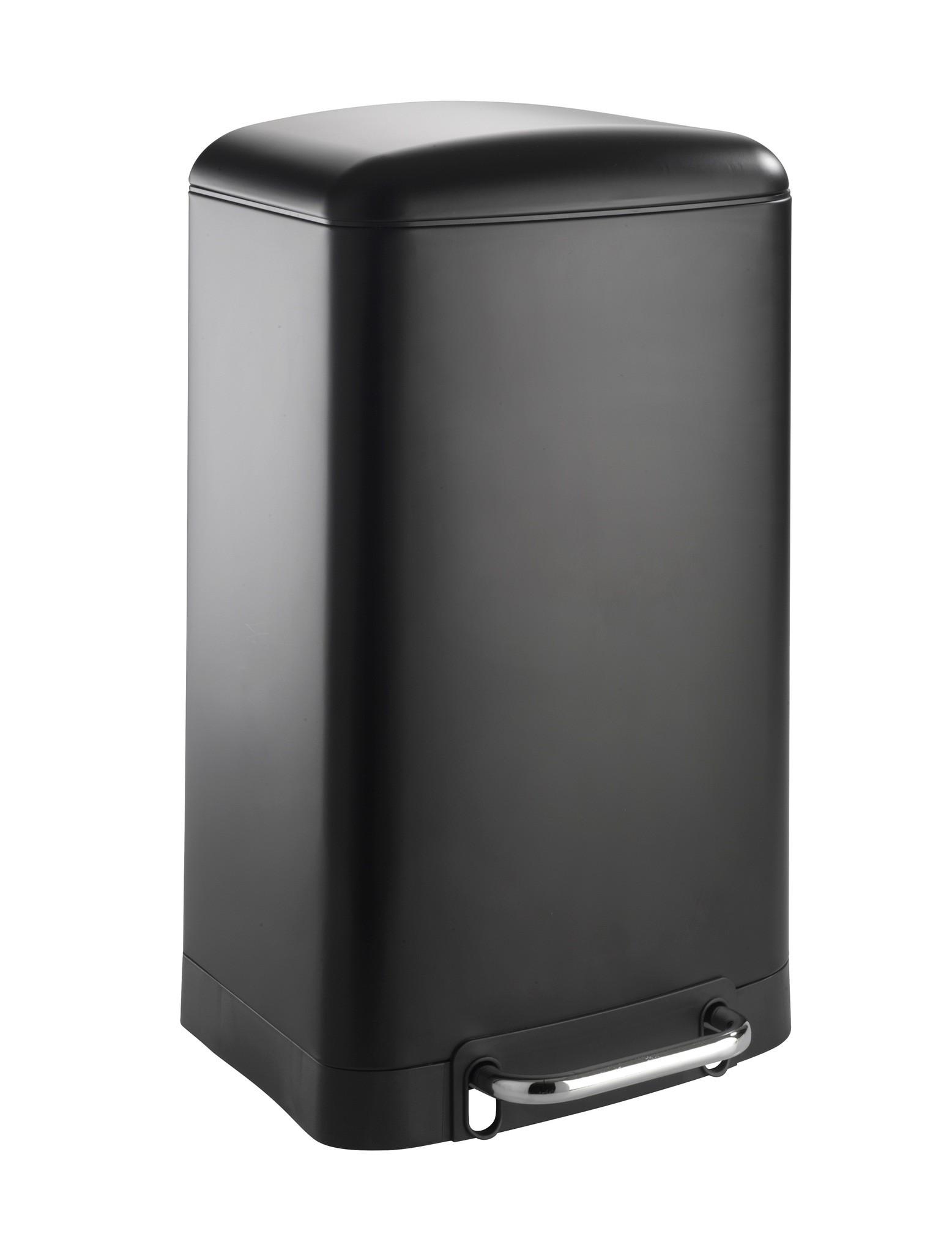 Treteimer Studio Easy-Close Schwarz 30 Liter, Absenkautomatik