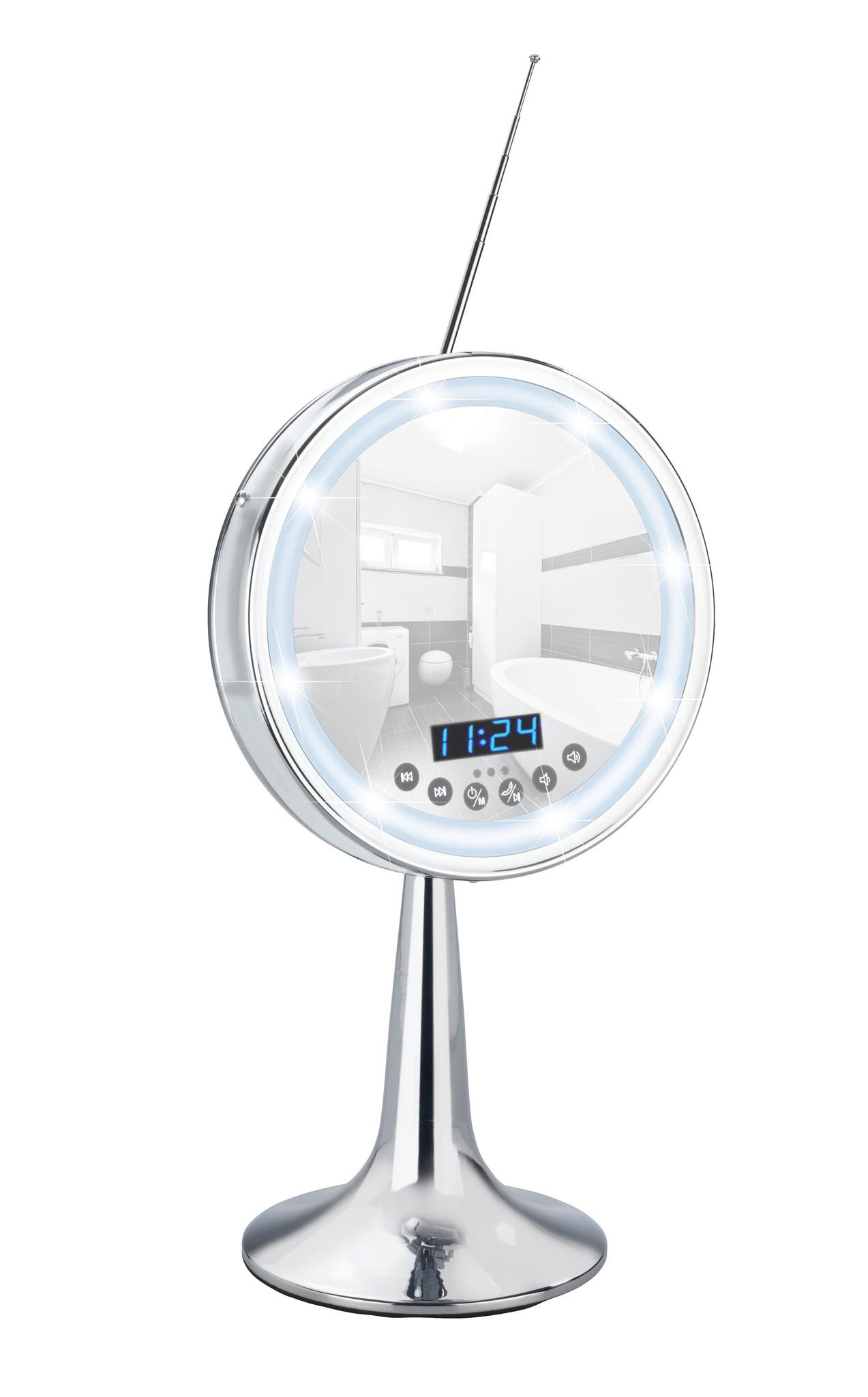 LED Kosmetik-Standspiegel Imperial, 3-fach Vergrößerung, mit Bluetooth Funktion, USB-Port, Mikrofon