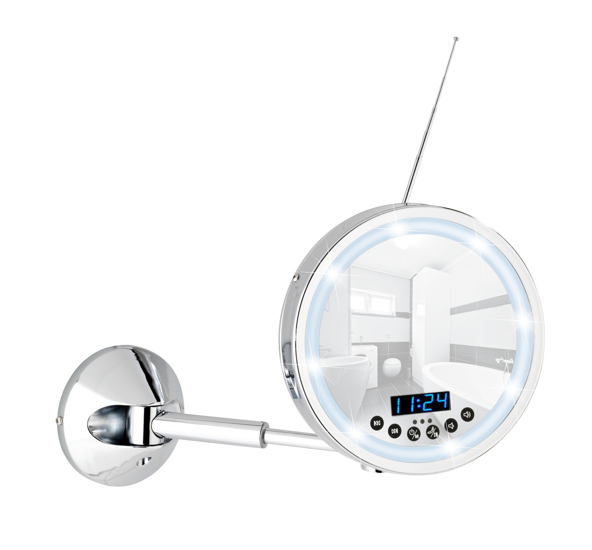 Wenko LED Wandspiegel Imperial, 3-fach Vergrößerung, mit Bluetooth Funktion, USB-Port und Mikrofon