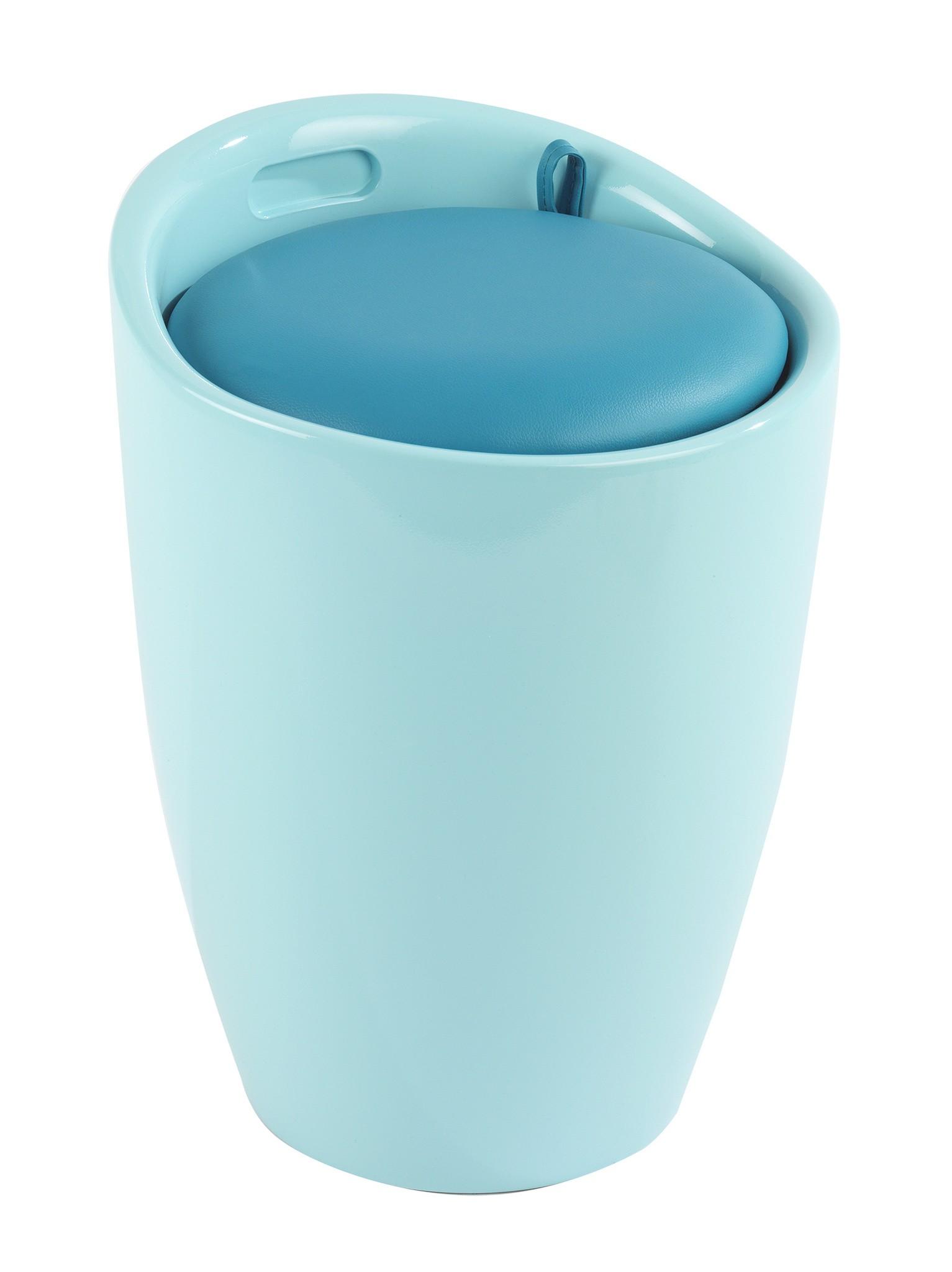 Hocker Candy Eisblau, Badhocker, mit abnehmbarem Wäschesack