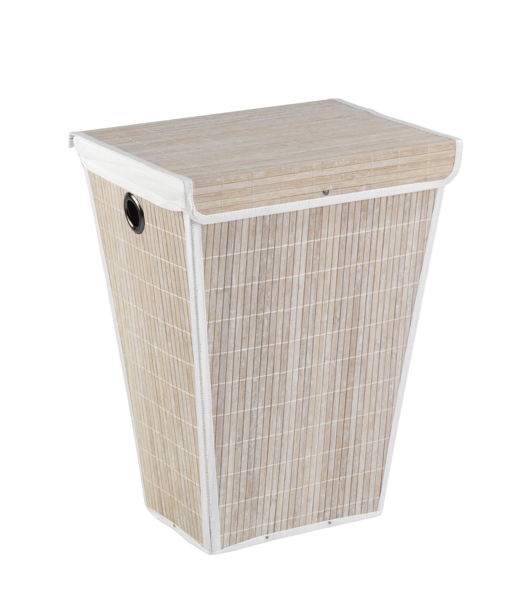 Wenko Wäschetruhe Bamboo Weiß, Wäschekorb, 55 l, konisch
