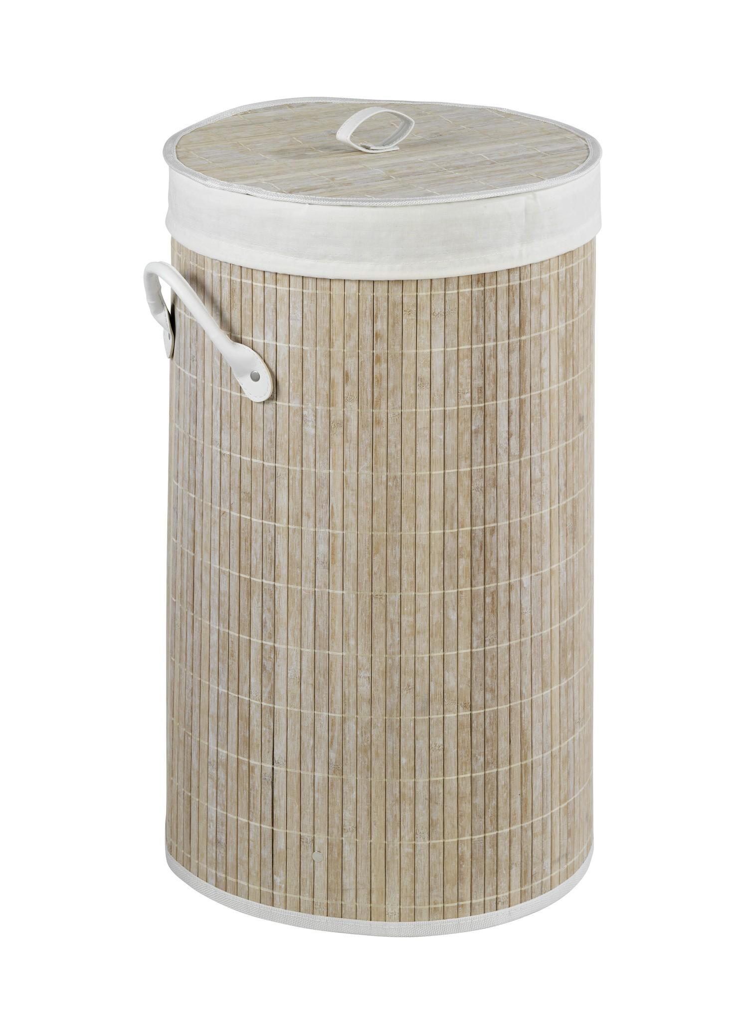 Wäschetruhe Bamboo Weiß, Wäschekorb, 55 l