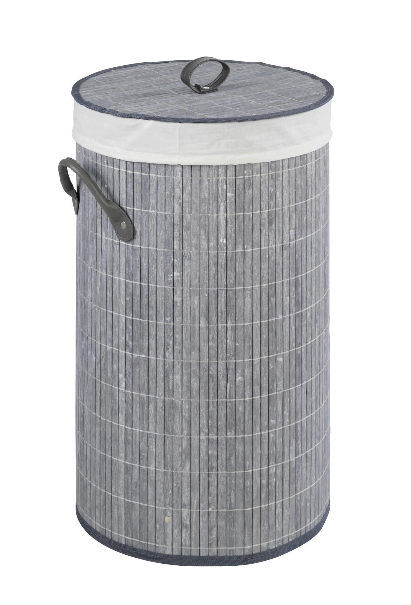 Wäschetruhe Bamboo Grau, Wäschekorb, 55 l