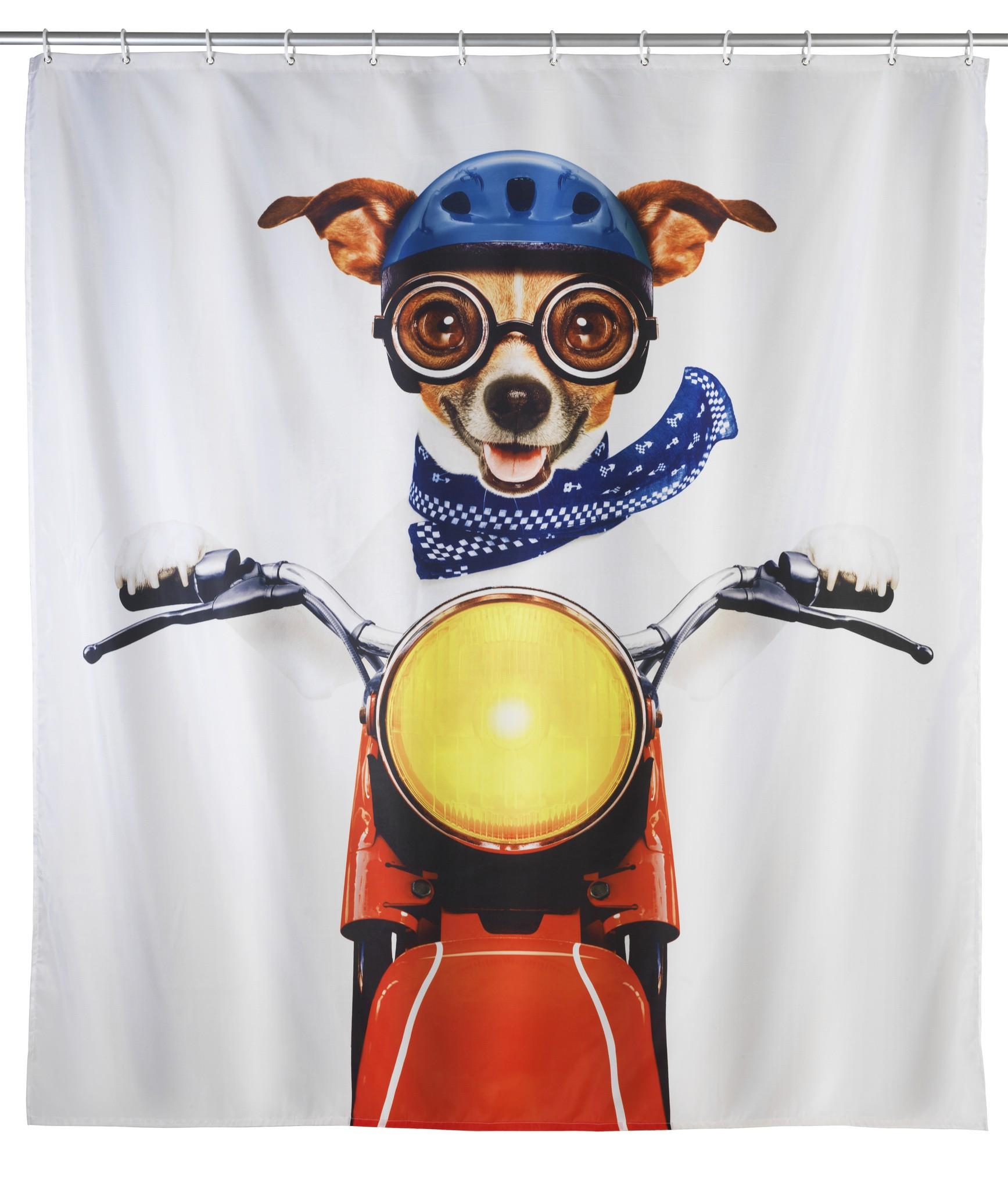 Duschvorhang Biker Dog, 180 x 200 cm, waschbar
