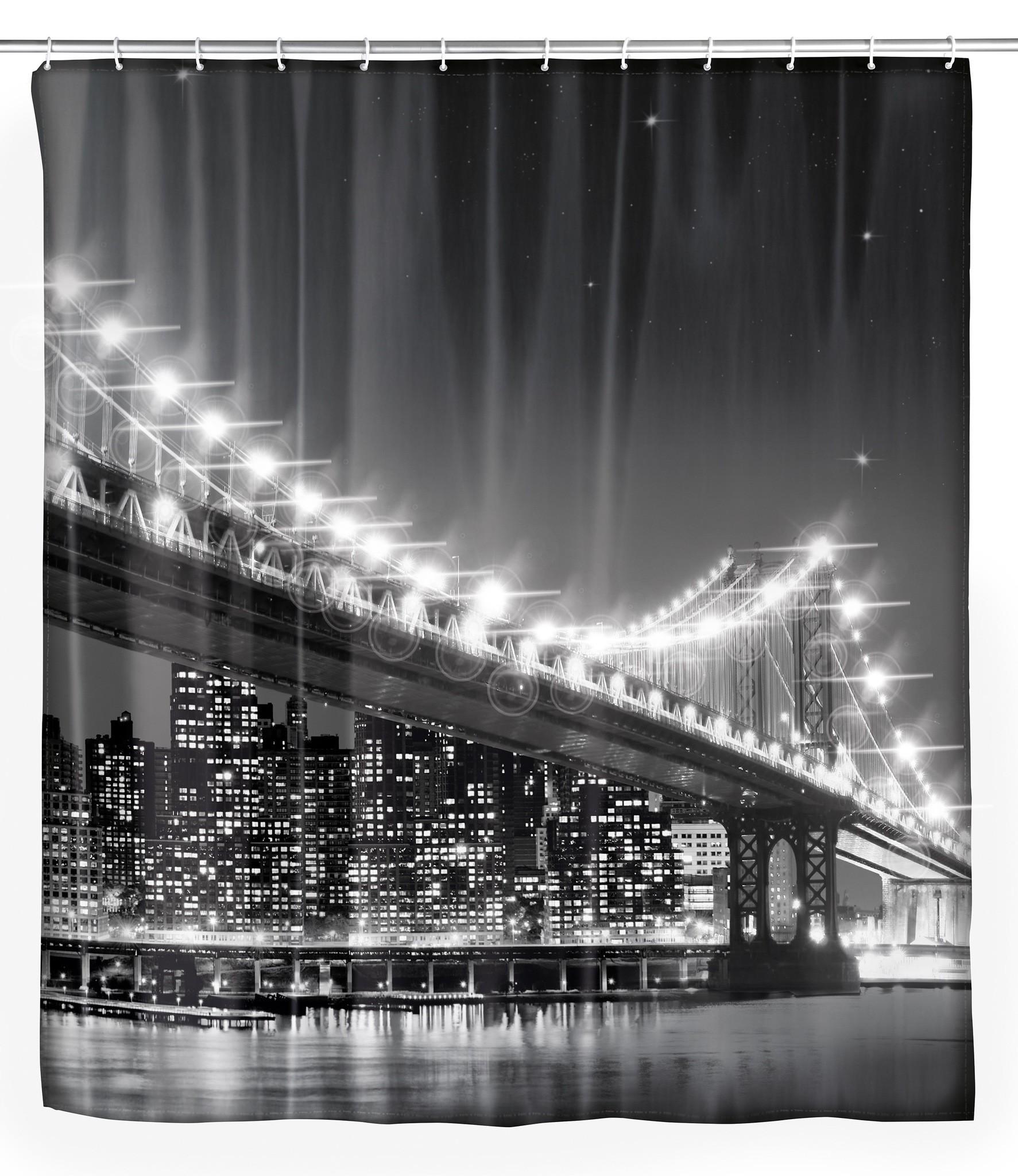Wenko LED Duschvorhang Brooklyn Bridge, 180 x 200 cm, waschbar