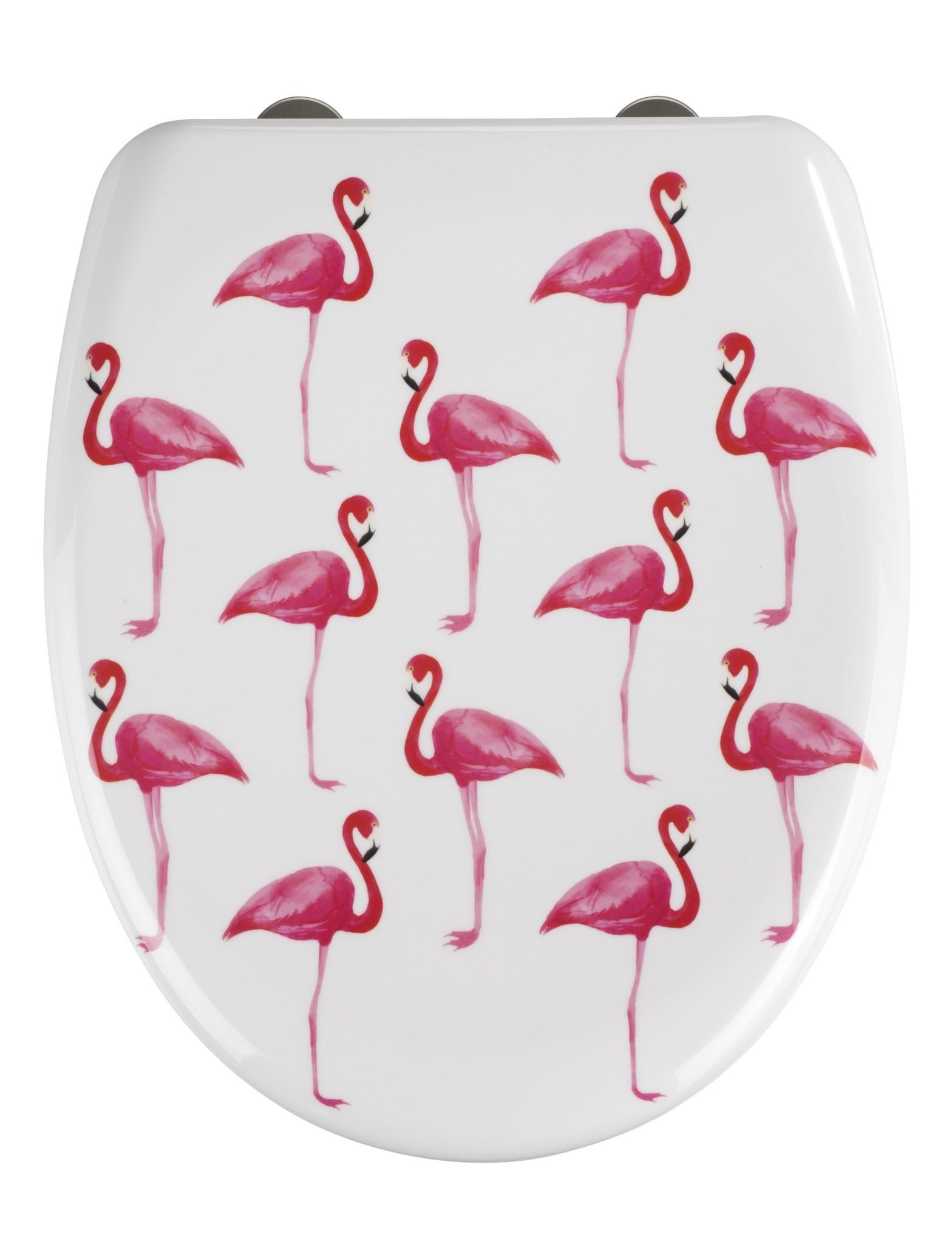 Wenko Premium WC-Sitz Flamingo, Duroplast, mit Absenkautomatik