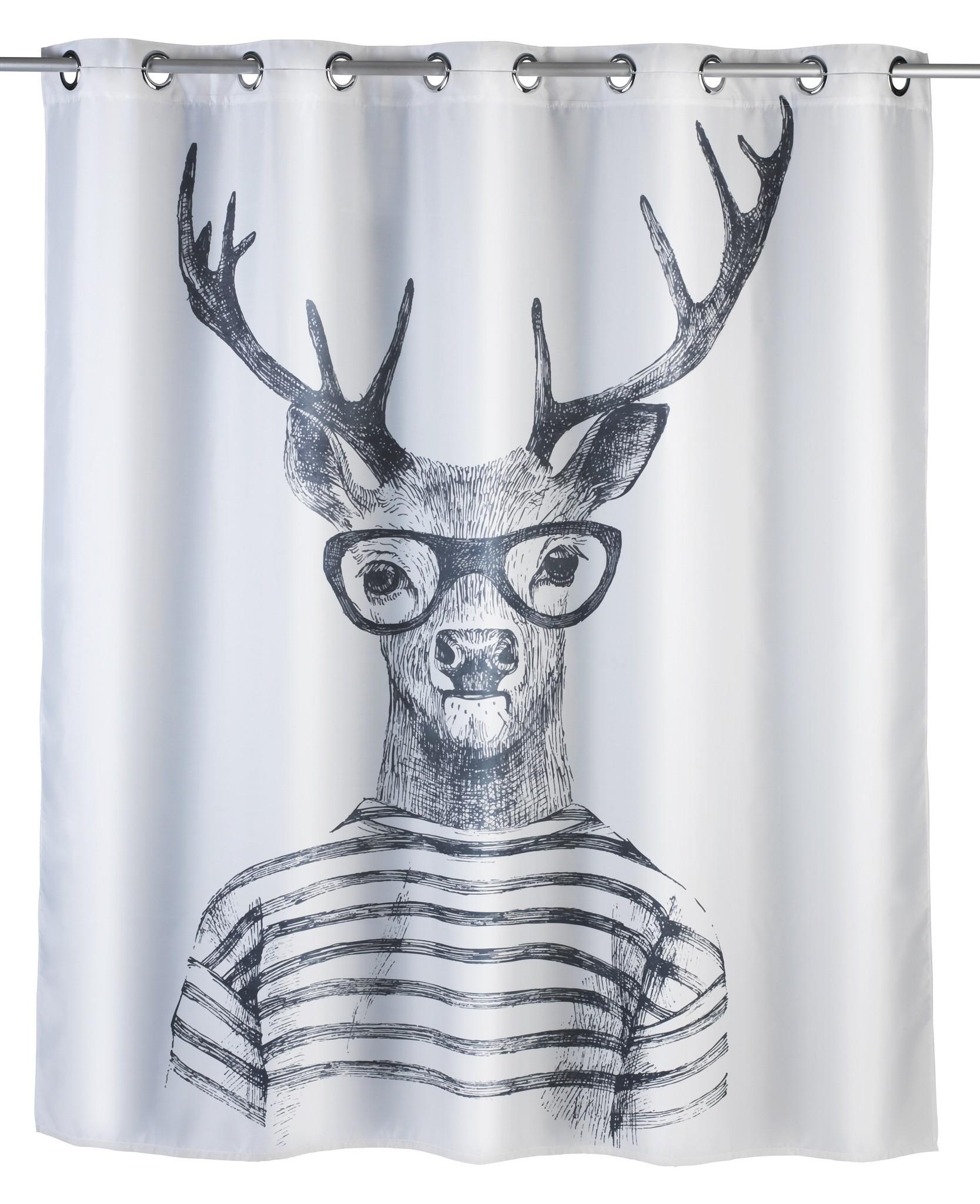 Anti-Schimmel Duschvorhang Mr. Deer Flex, Polyester, 180 x 200 cm, waschbar