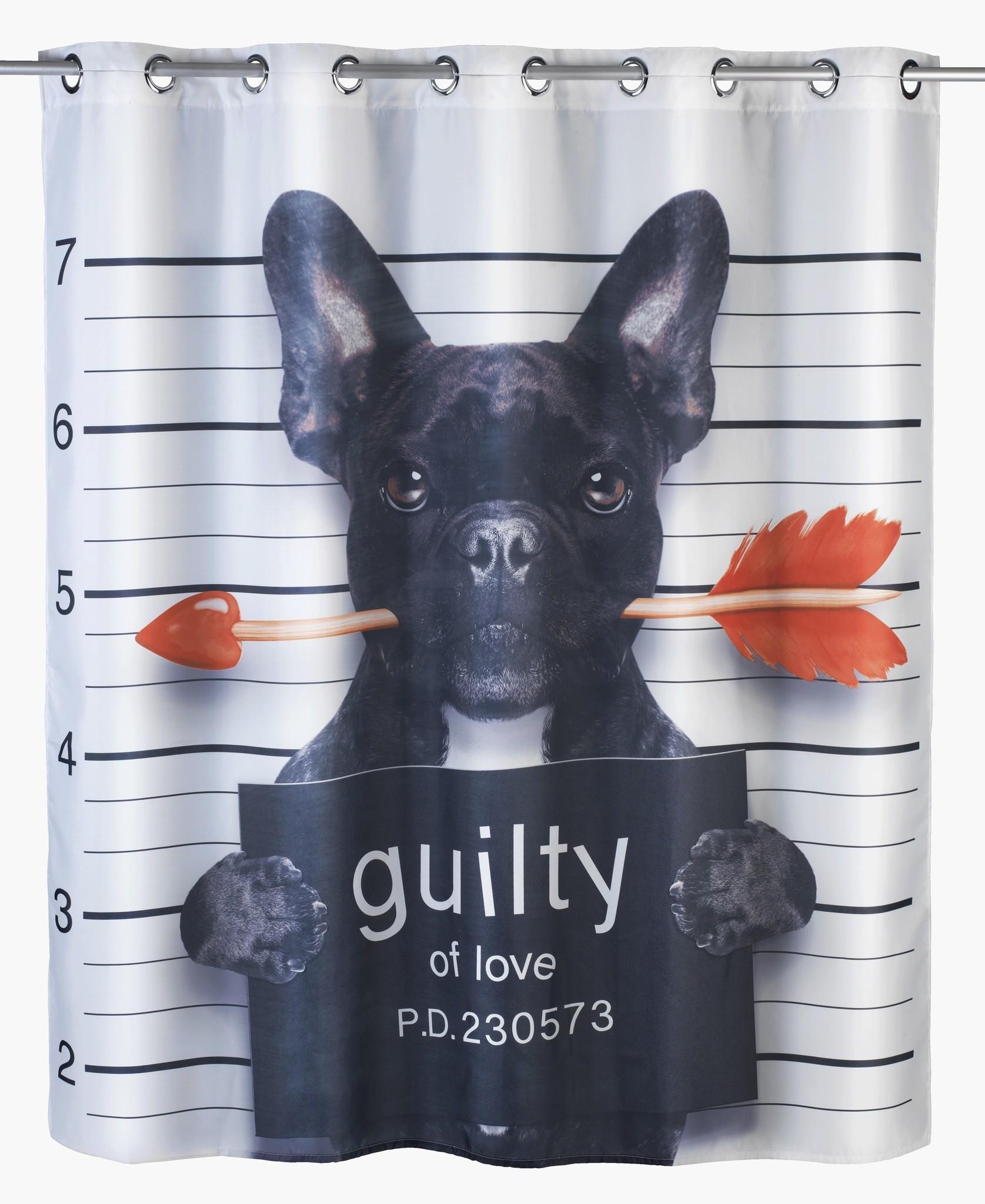 Wenko Anti-Schimmel Duschvorhang Guilty Dog Flex, Polyester, 180 x 200 cm, waschbar
