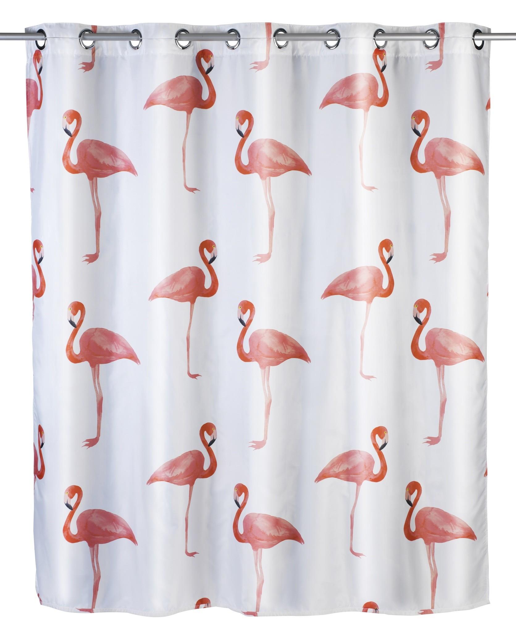 Anti-Schimmel Duschvorhang Flamingo Flex, Polyester, 180 x 200 cm, waschbar