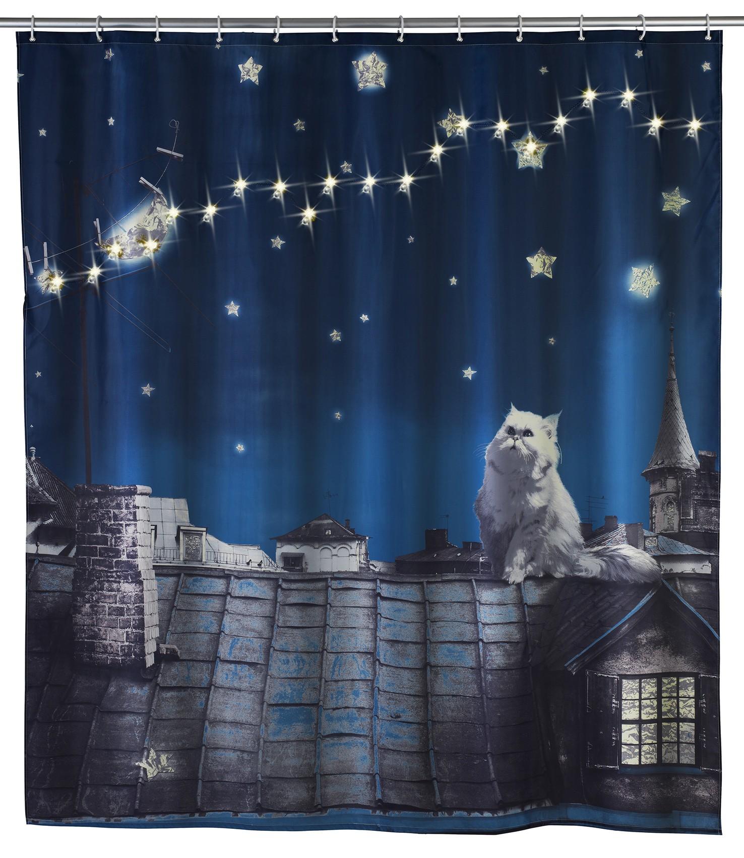 Wenko LED Duschvorhang Moon Cat, 180 x 200 cm, waschbar