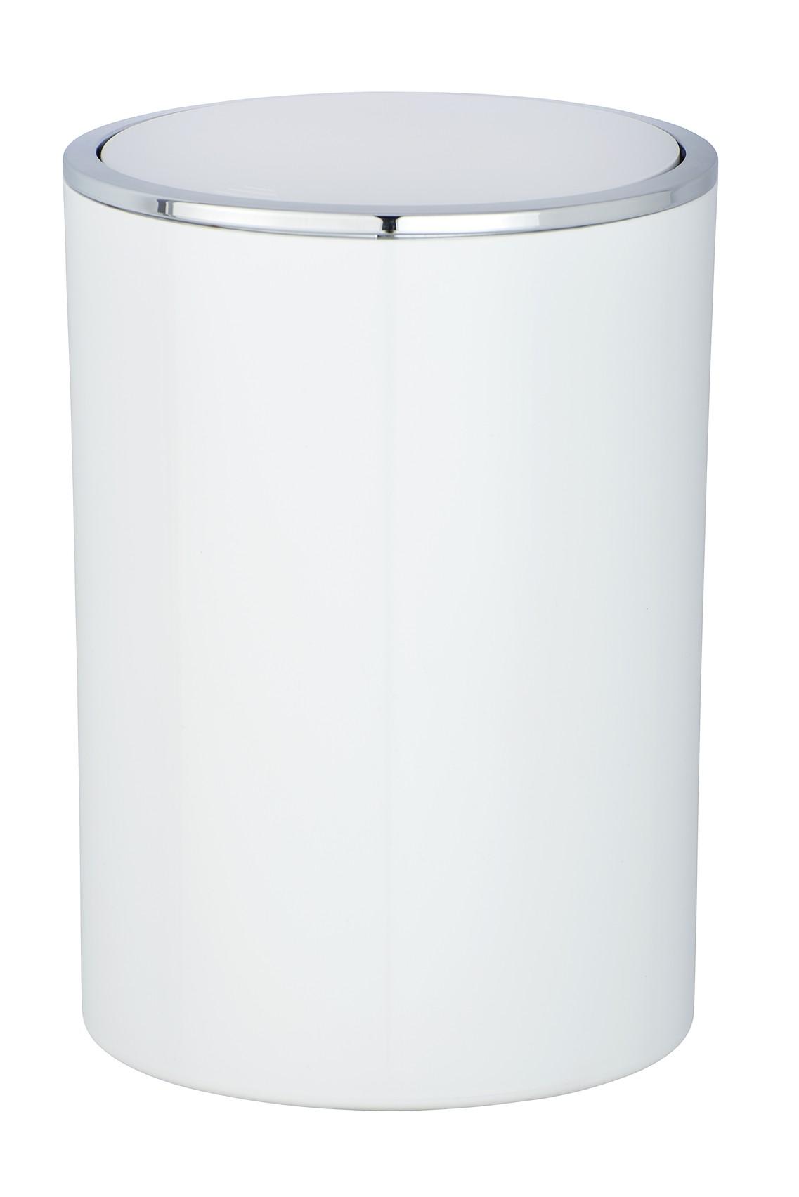 Wenko Schwingdeckeleimer Inca White, hochwertiger Kunststoff, 5 Liter
