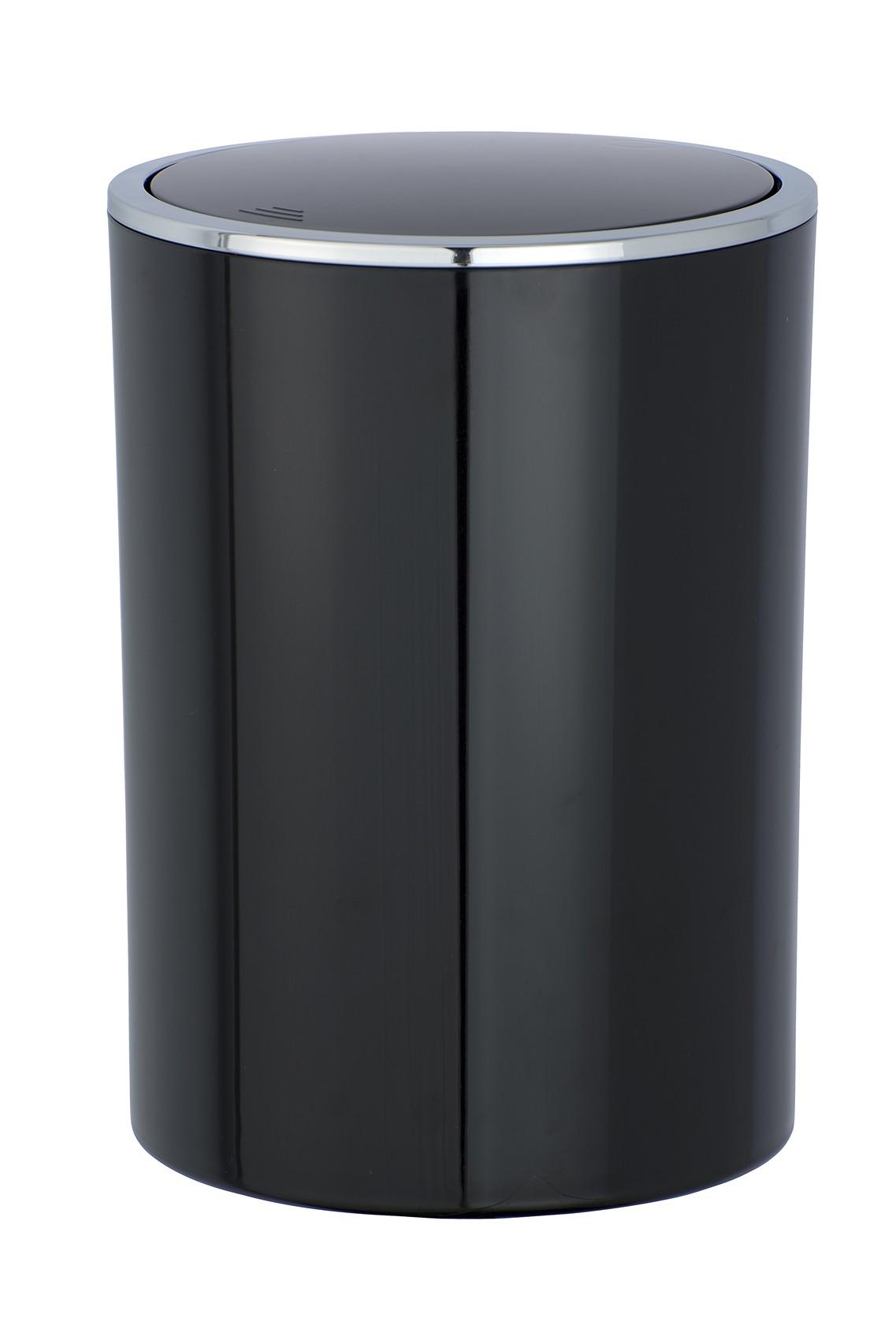Wenko Schwingdeckeleimer Inca Black, hochwertiger Kunststoff, 5 Liter