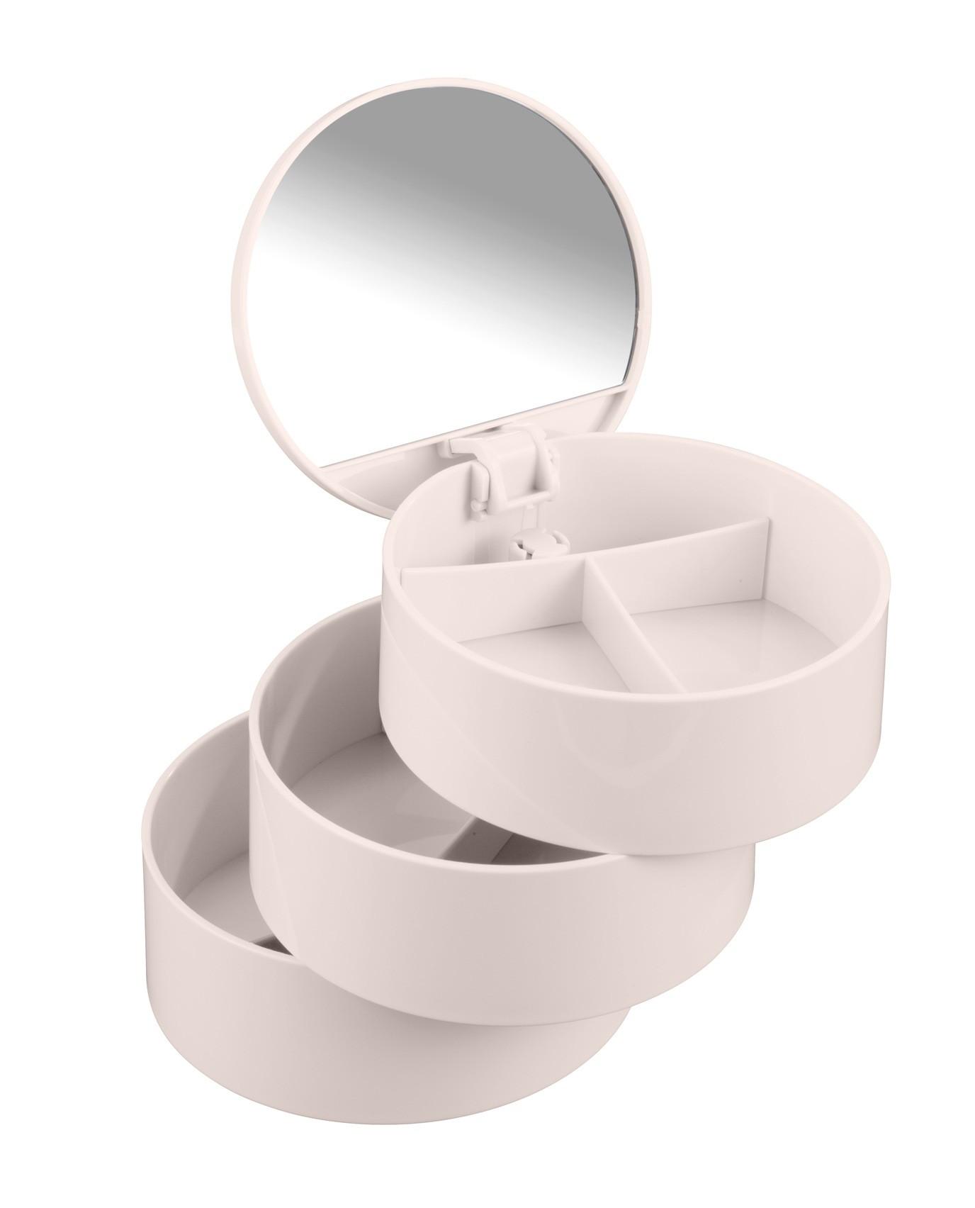 Wenko Kosmetik Tower Rosa, mit drehbaren 3 Fächern und Spiegel