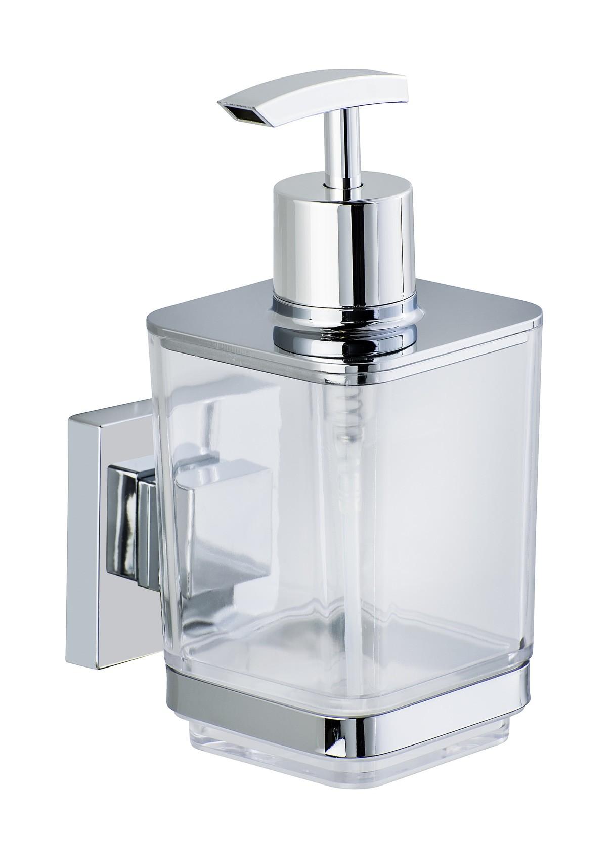 Wenko Vacuum-Loc® Seifenspender Quadro, Edelstahl, Befestigen ohne bohren
