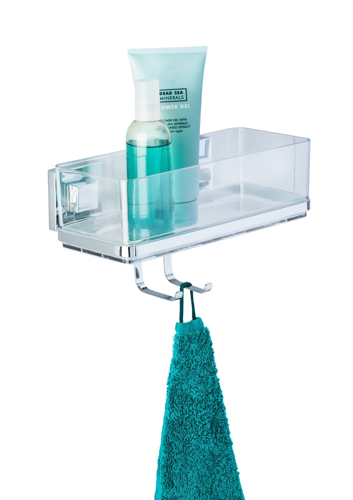Wenko Vacuum-Loc® Wandablage mit Haken Quadro, Edelstahl, Befestigen ohne bohren