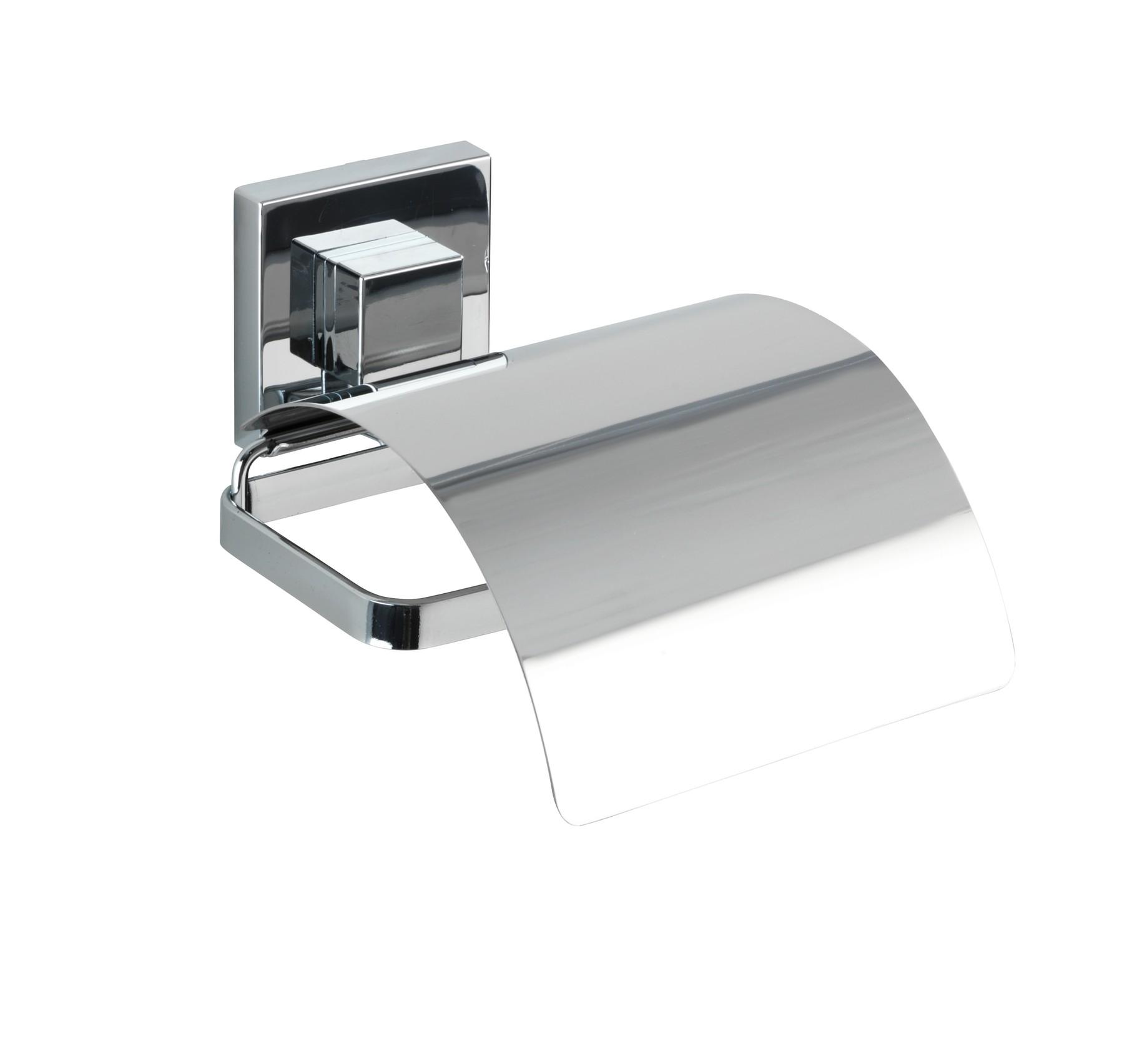 Wenko Vacuum-Loc® Toilettenpapierhalter Cover Quadro, Edelstahl, Befestigen ohne bohren