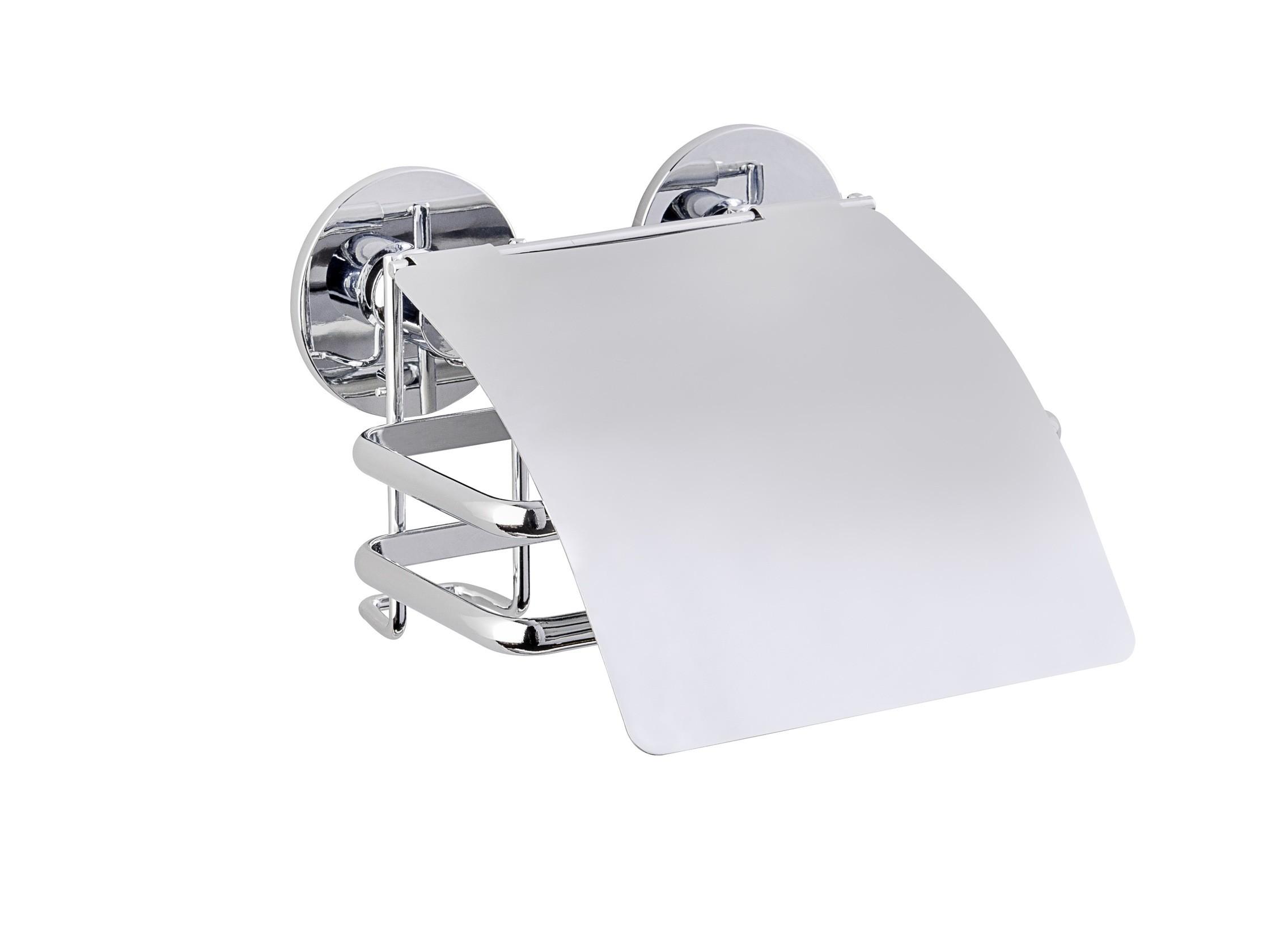 Wenko Express-Loc® Toilettenpapierhalter mit Deckel Cali, Edelstahl, Befestigen ohne bohren