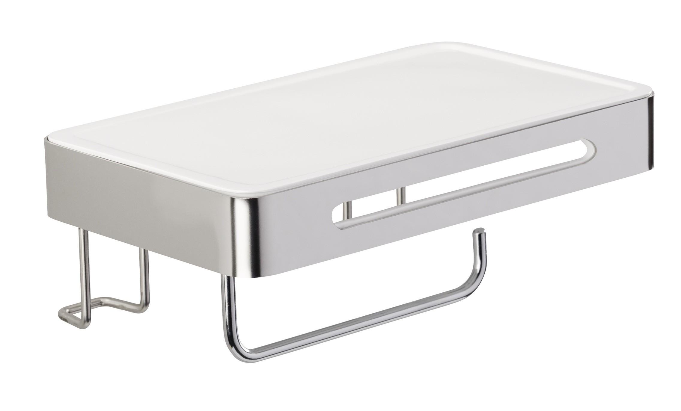 Wenko Toilettenpapierhalter mit Ablage Premium Plus, Edelstahl