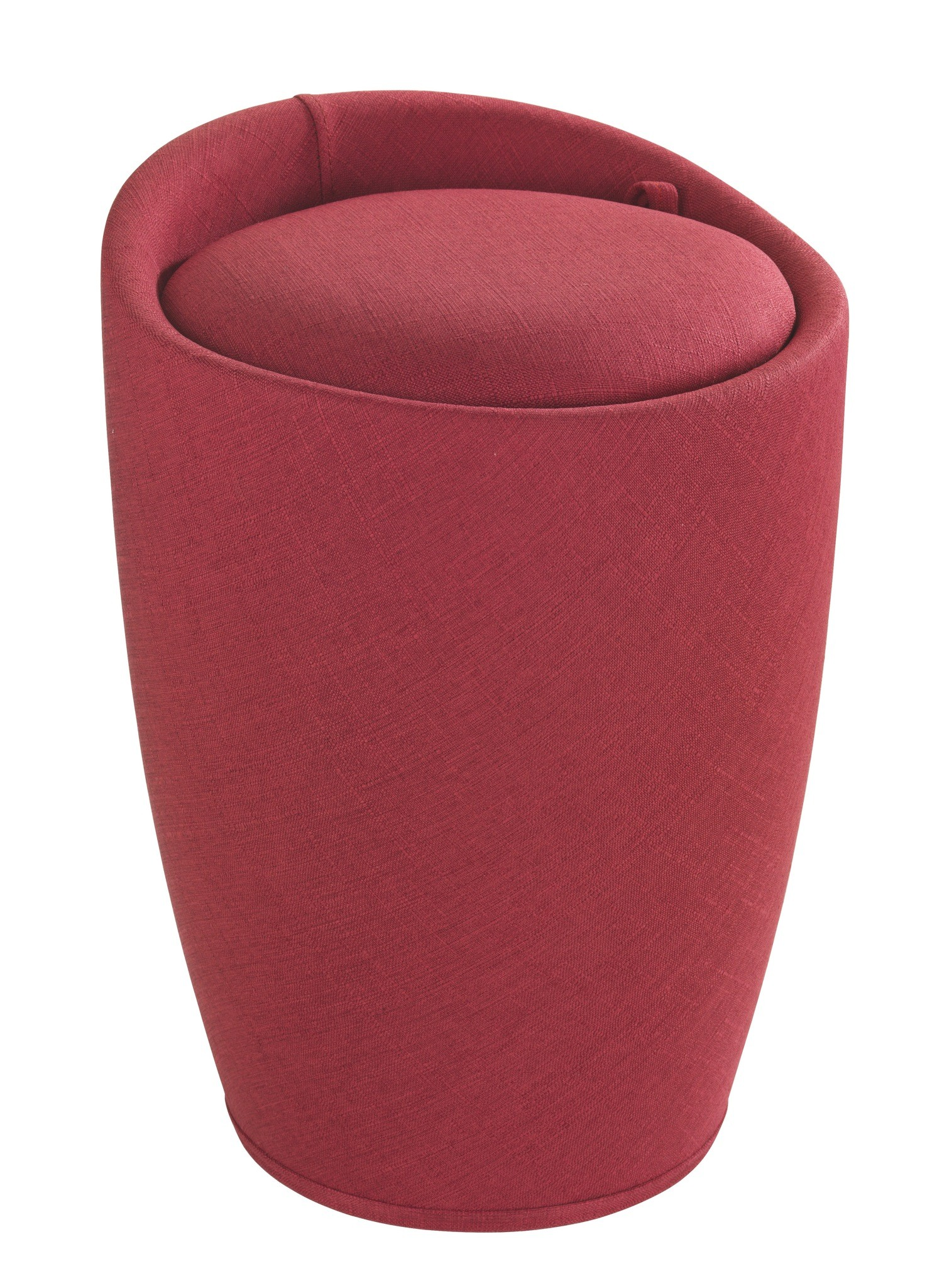 Hocker Candy Red Leinenoptik, Badhocker, mit abnehmbarem Wäschesack