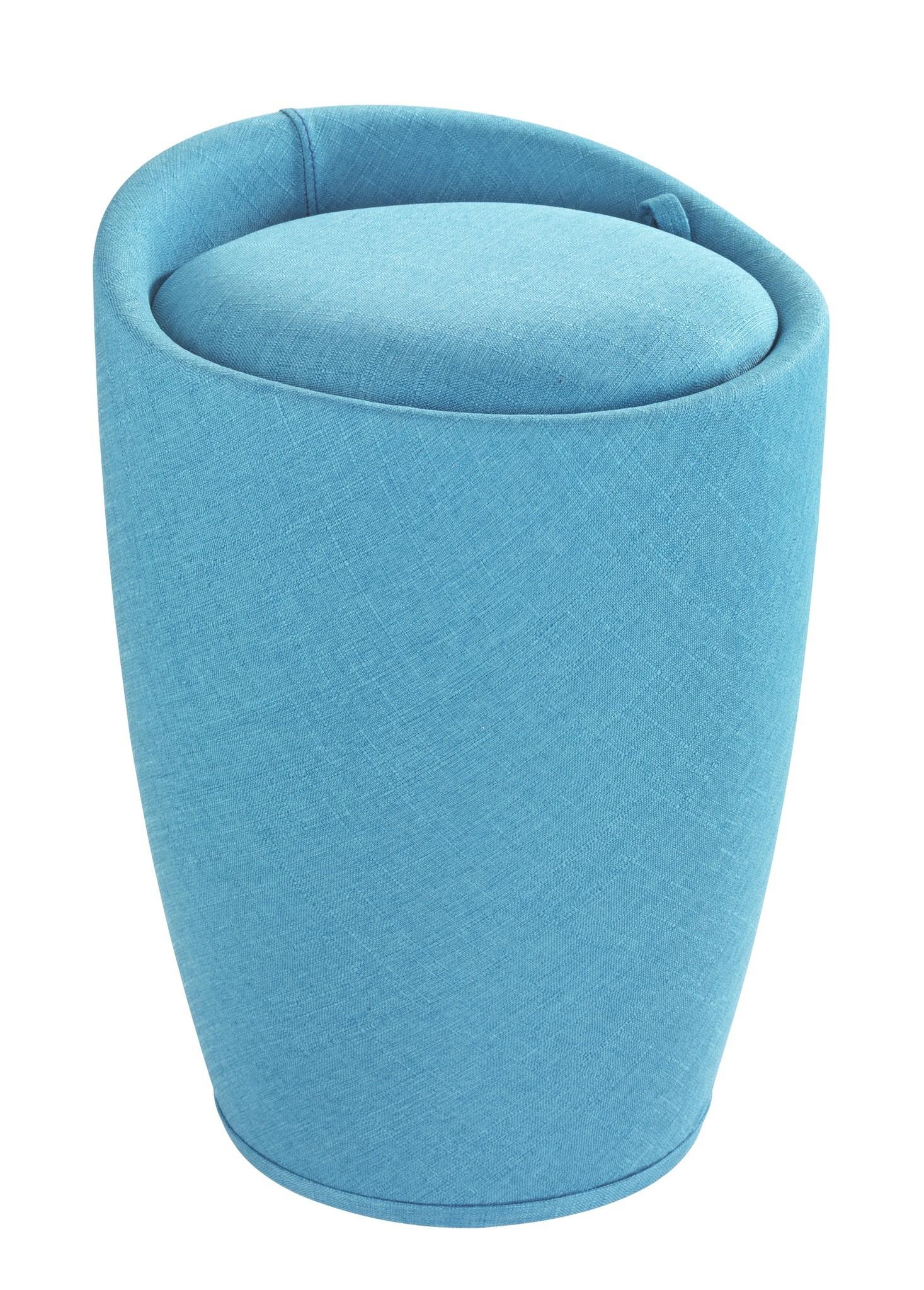 Hocker Candy Turquoise Leinenoptik, Badhocker, mit abnehmbarem Wäschesack