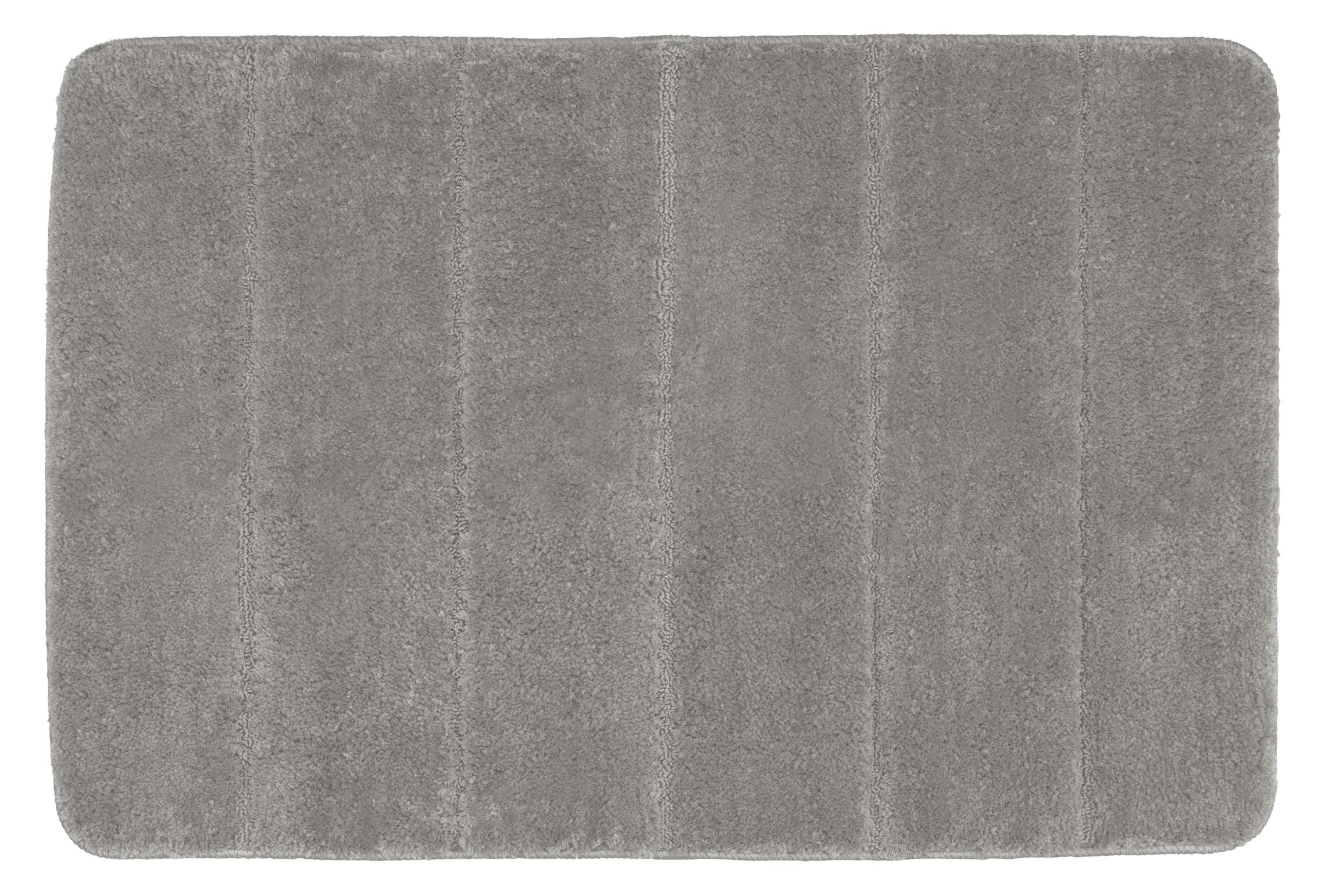Wenko Badteppich Steps Light Grey, 60 x 90 cm, Mikrofaser