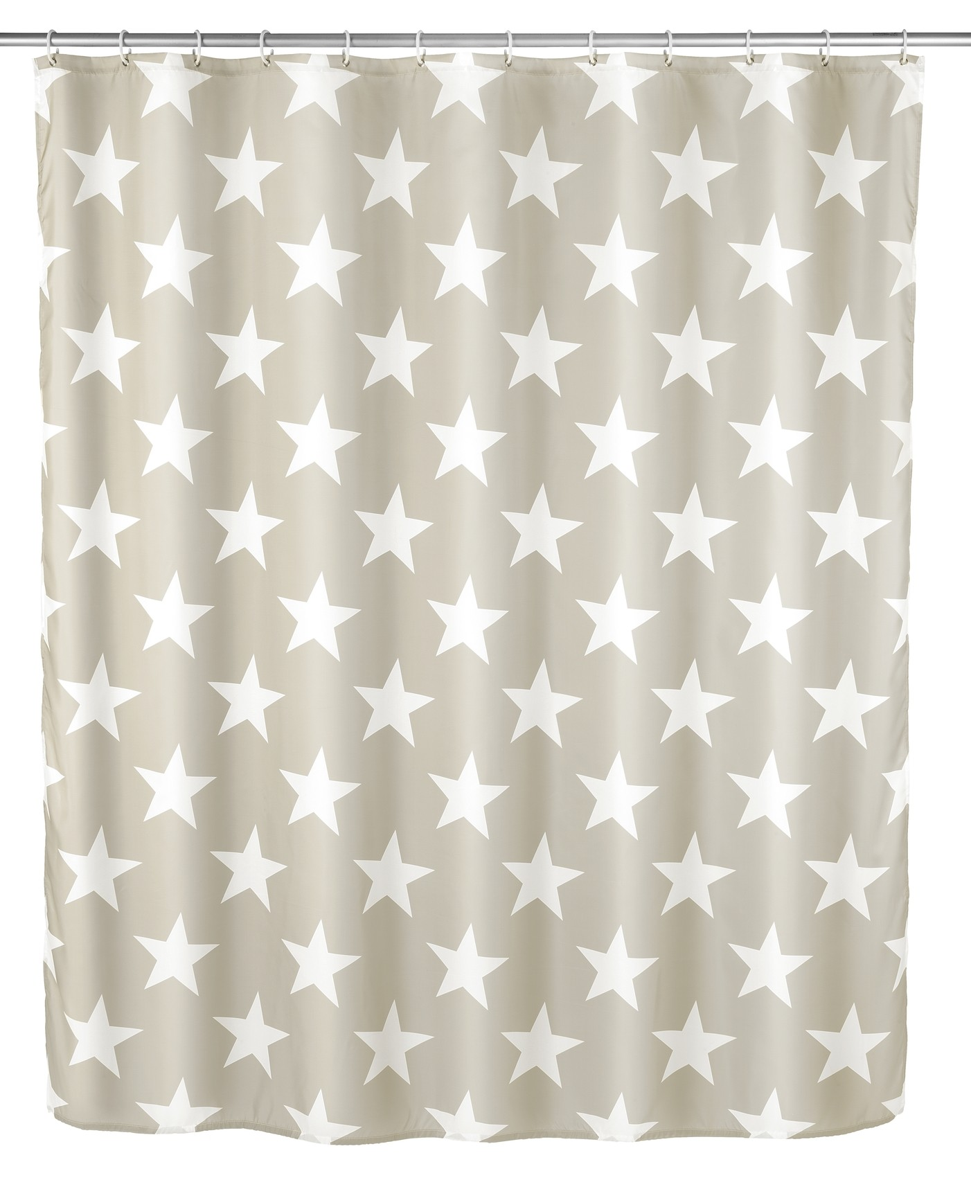 Wenko Anti-Schimmel Duschvorhang Stella Taupe, Polyester, 180 x 200 cm, waschbar