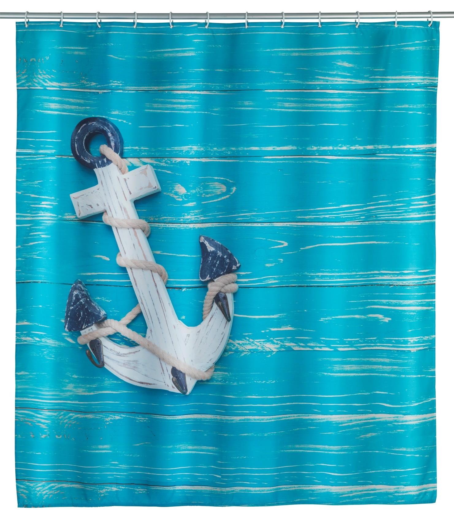 Wenko Duschvorhang Aboard, Polyester, 180 x 200 cm, waschbar