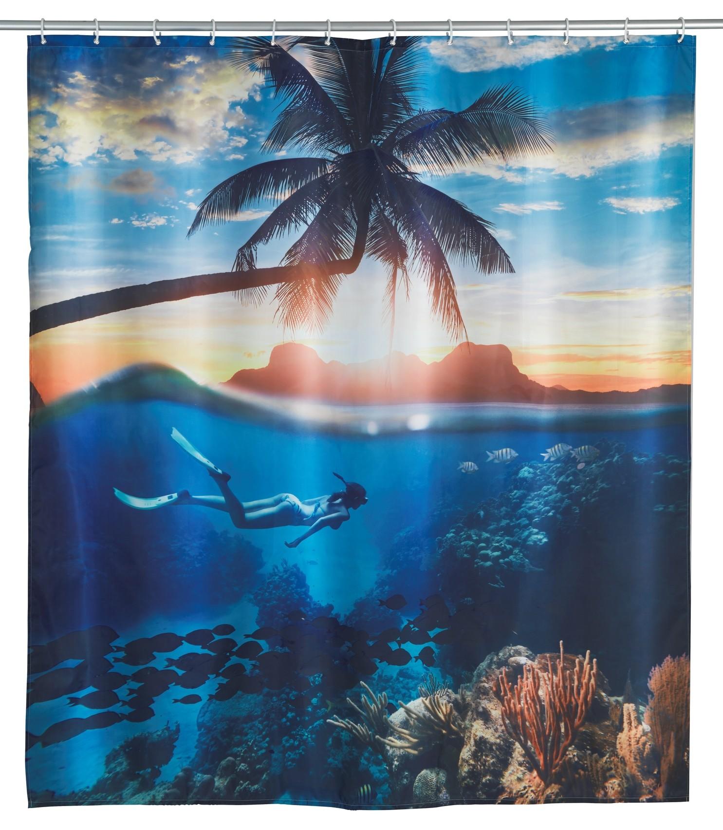 Wenko Duschvorhang Underwater, Polyester, 180 x 200 cm, waschbar