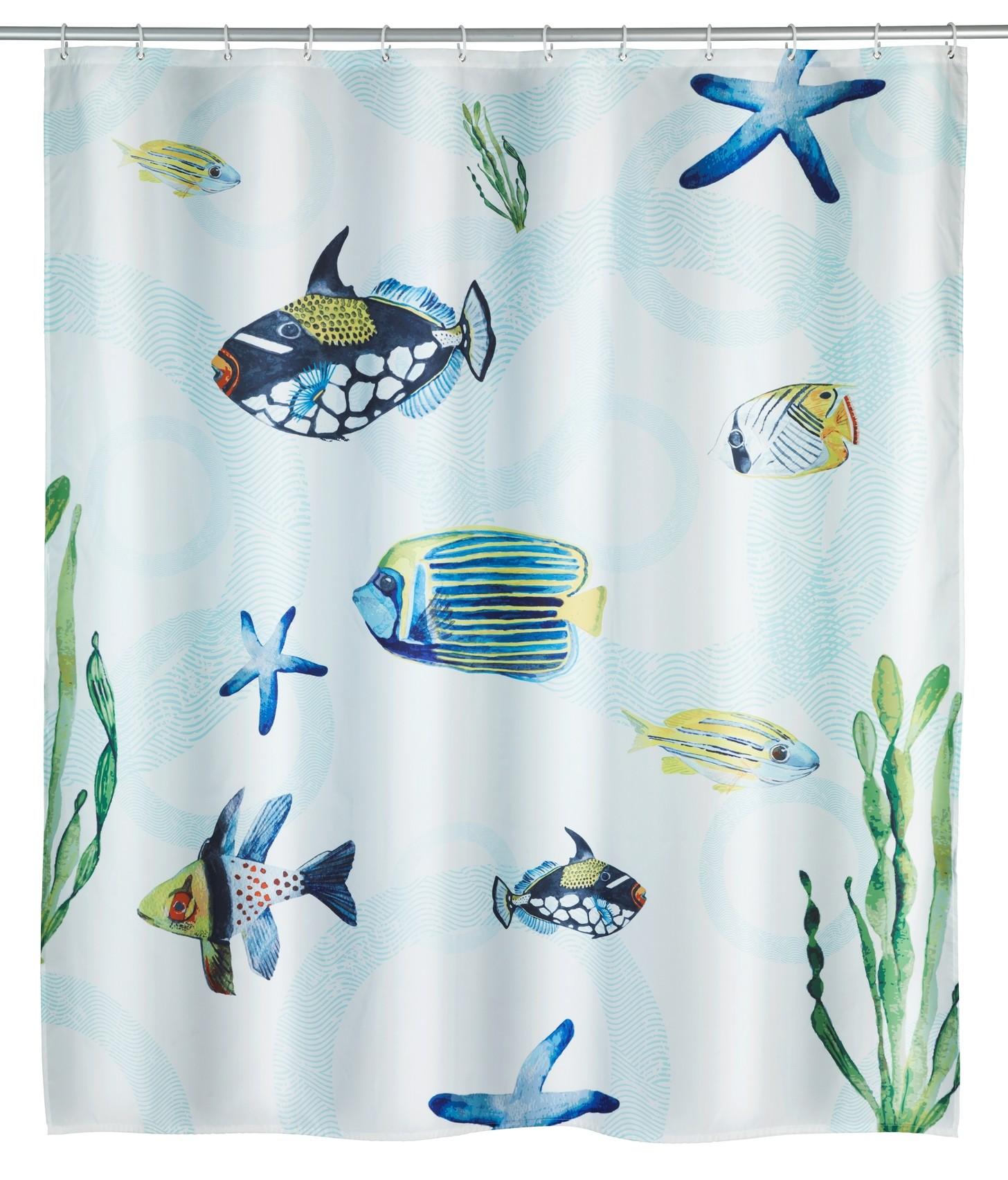 Wenko Duschvorhang Aquaria, Polyester, 180 x 200 cm, waschbar
