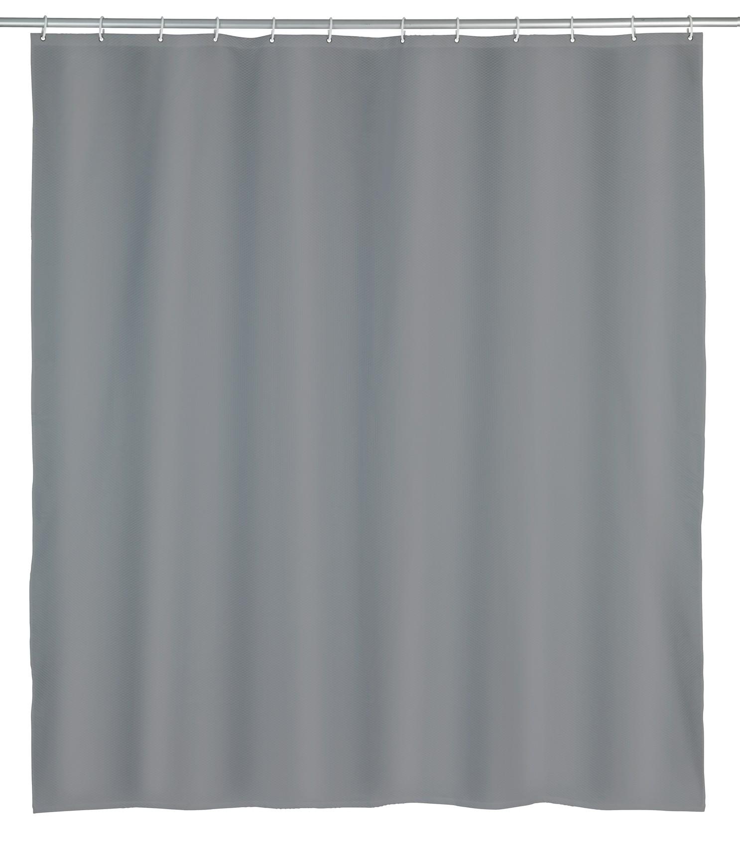 Wenko Duschvorhang Punto Grau, Polyester, 180 x 200 cm, waschbar